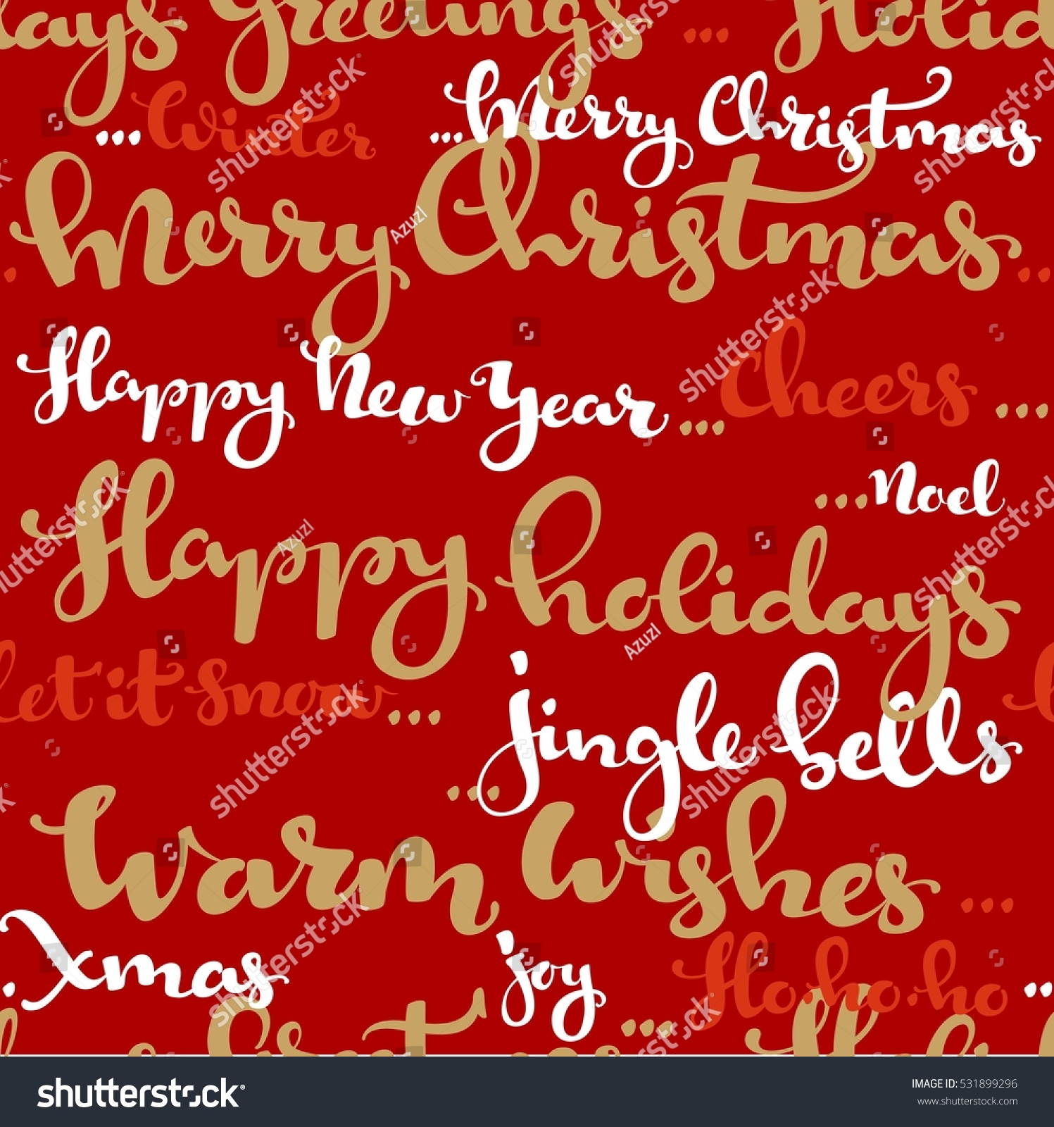 Seamless Pattern Christmas Greetings Wishes Calligraphy Stock Vector