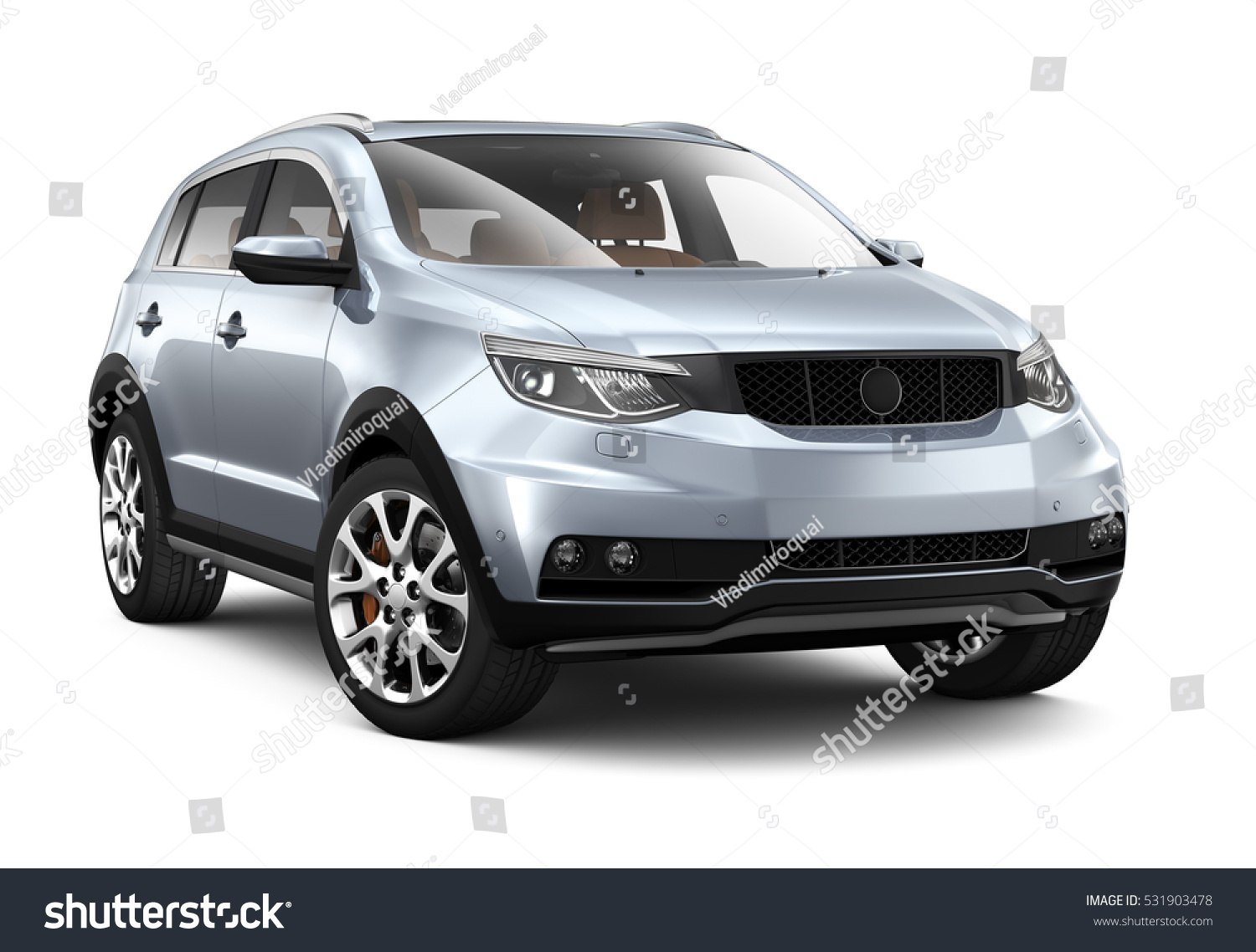 Compact Silver Suv Render On Stock Illustration