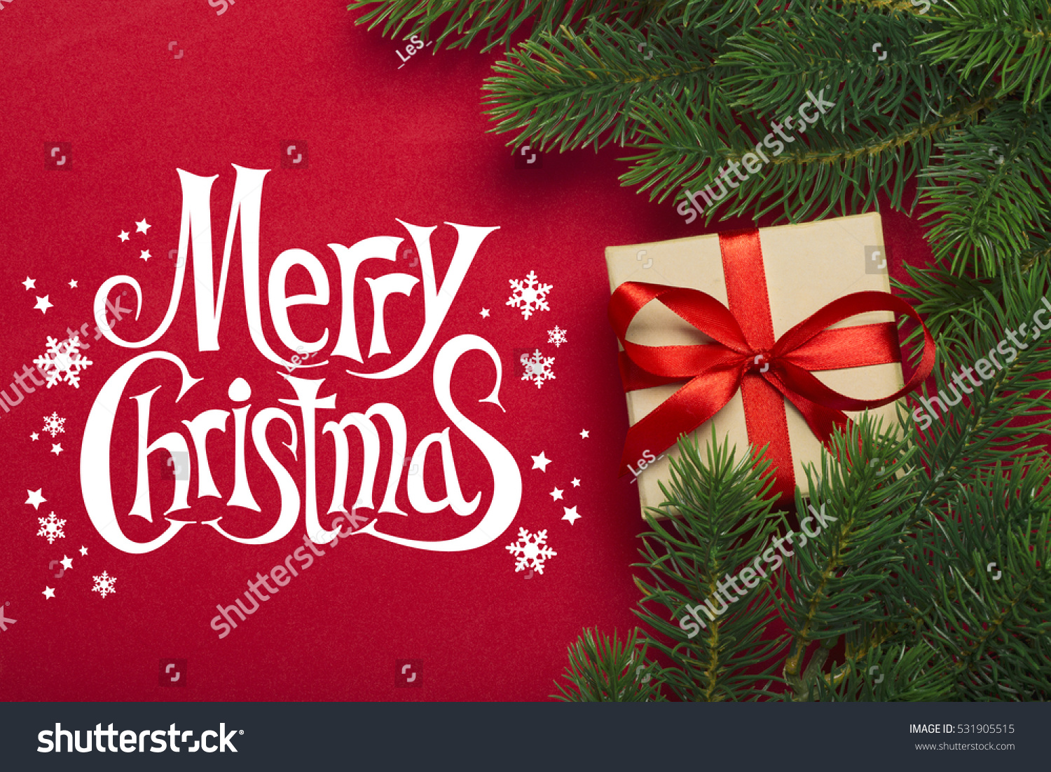 Red Christmas Background With Xmas Tree And Gifts: Branches Christmas Tree Gift On Red Stock Photo 531905515