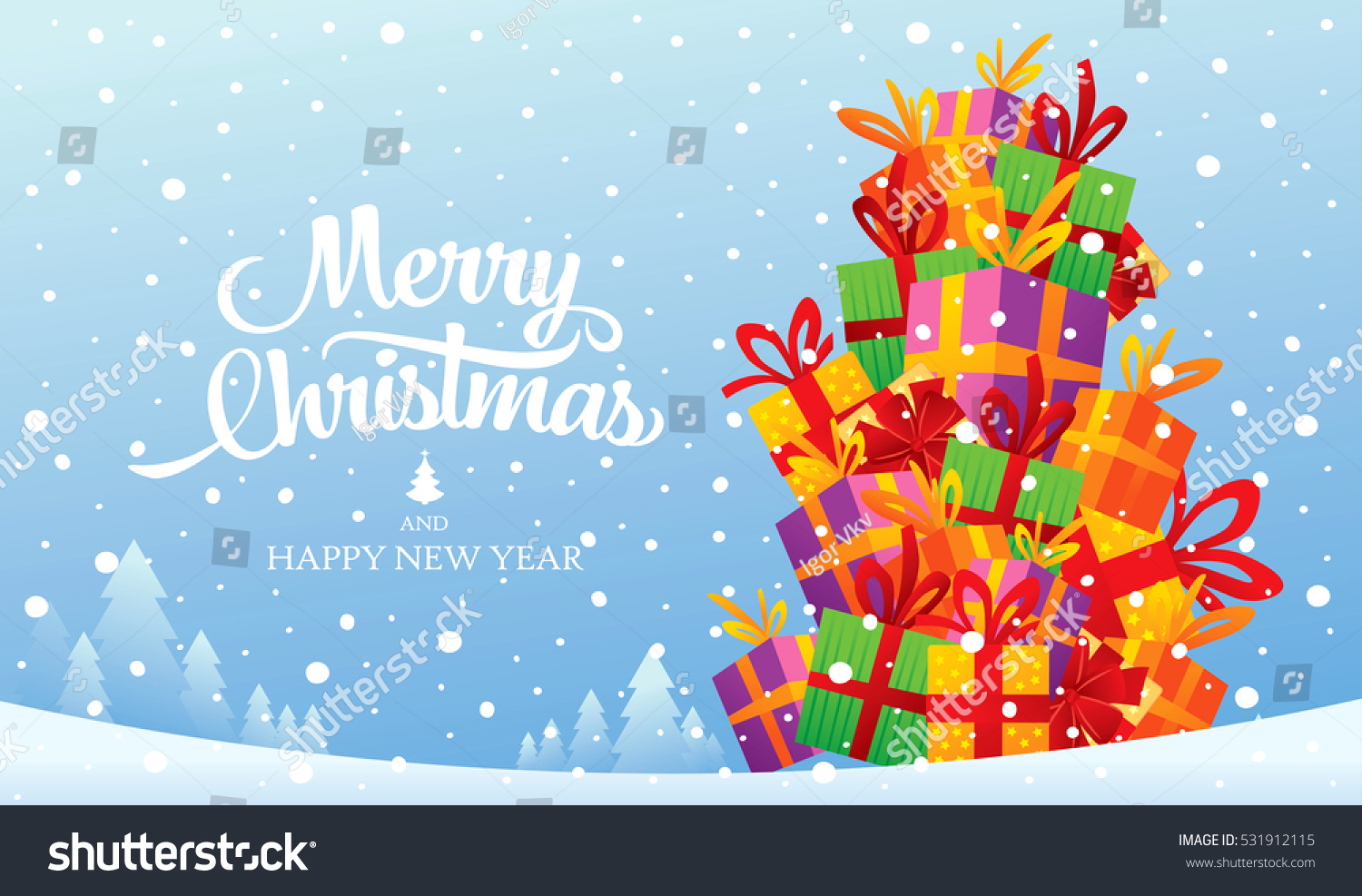 Christmas greeting card merry christmas happy stock vector royalty christmas greeting card merry christmas and happy new year m4hsunfo