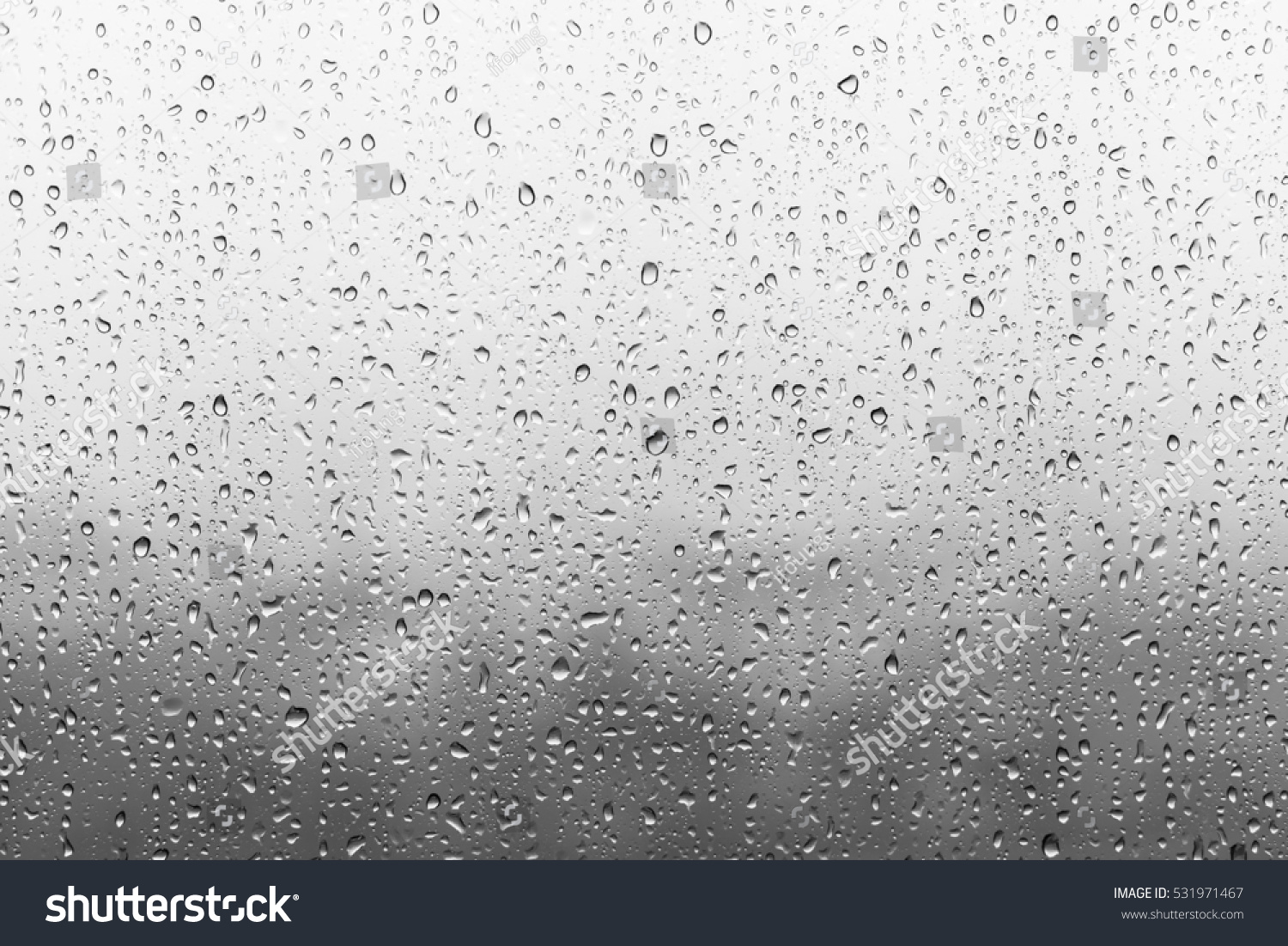 Rain drops on window glasses surface with cloudy background . Natural Pattern of raindrops isolated on cloudy background. #531971467