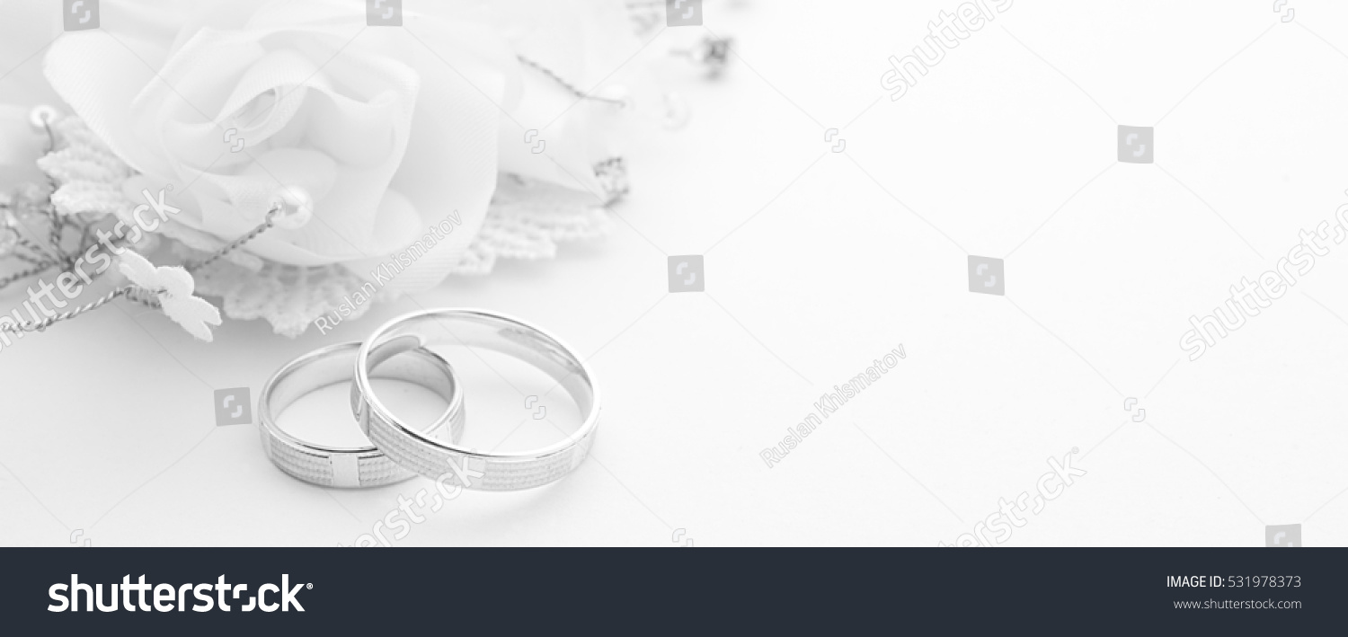 Wedding Rings On Wedding Card On Stock Photo Download Now