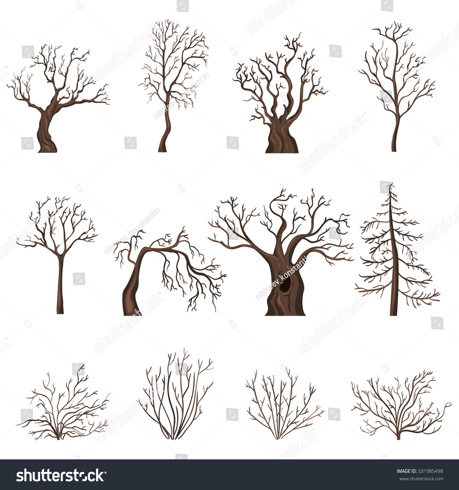 Vector Set Brown Cartoon Bare Trees Stock Vector Royalty Free