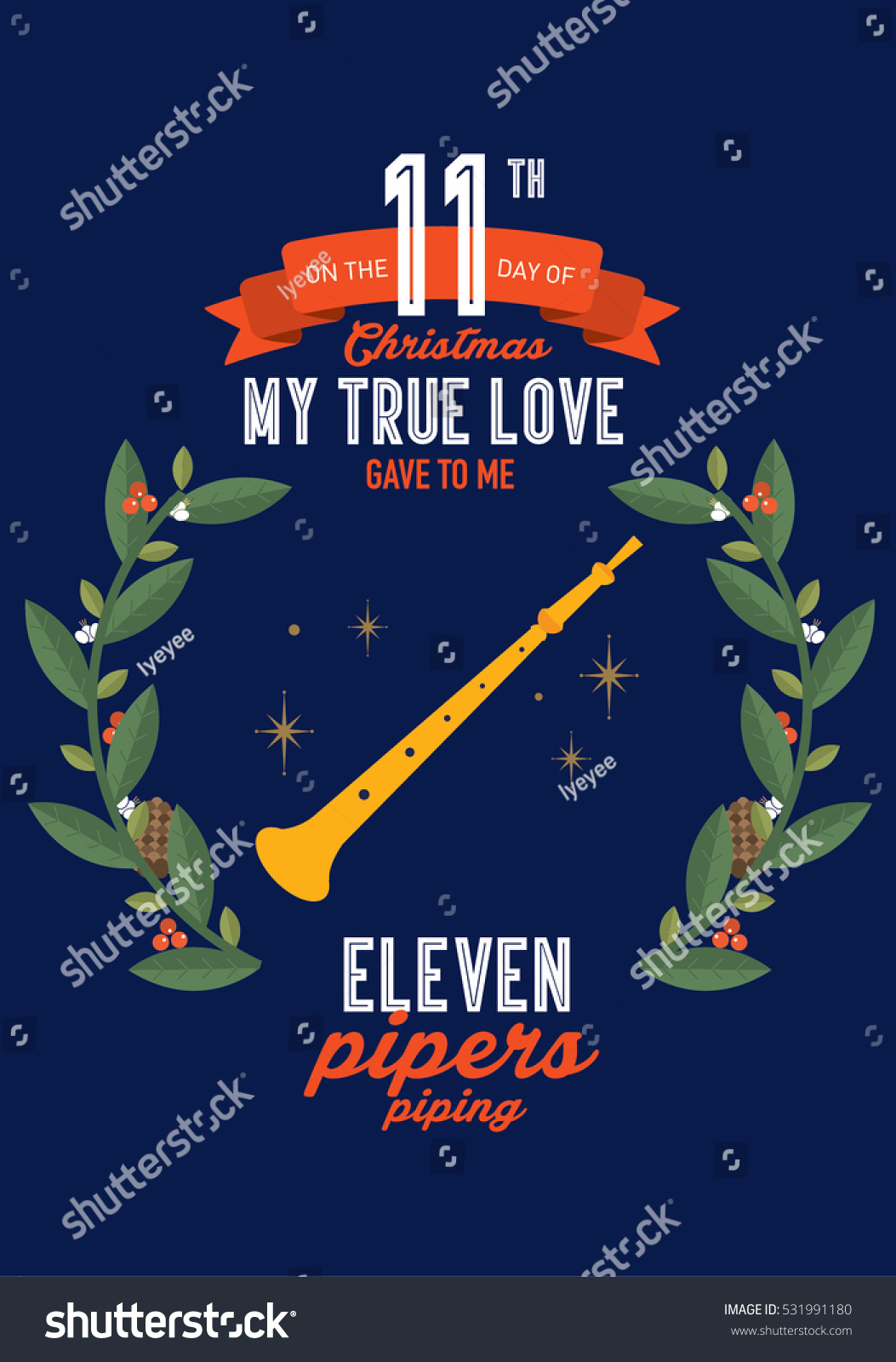 eleventh day twelve days christmas template stock vector royalty