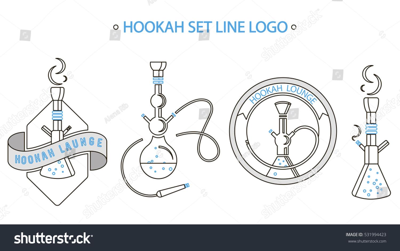Set Logo Line Art Style Hookahlogo Stock Vector 531994423