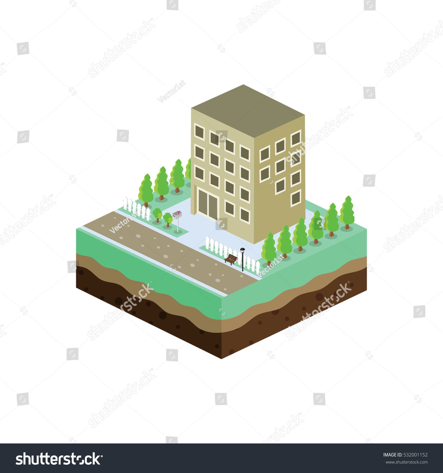 isometric block commercial residential building view stock