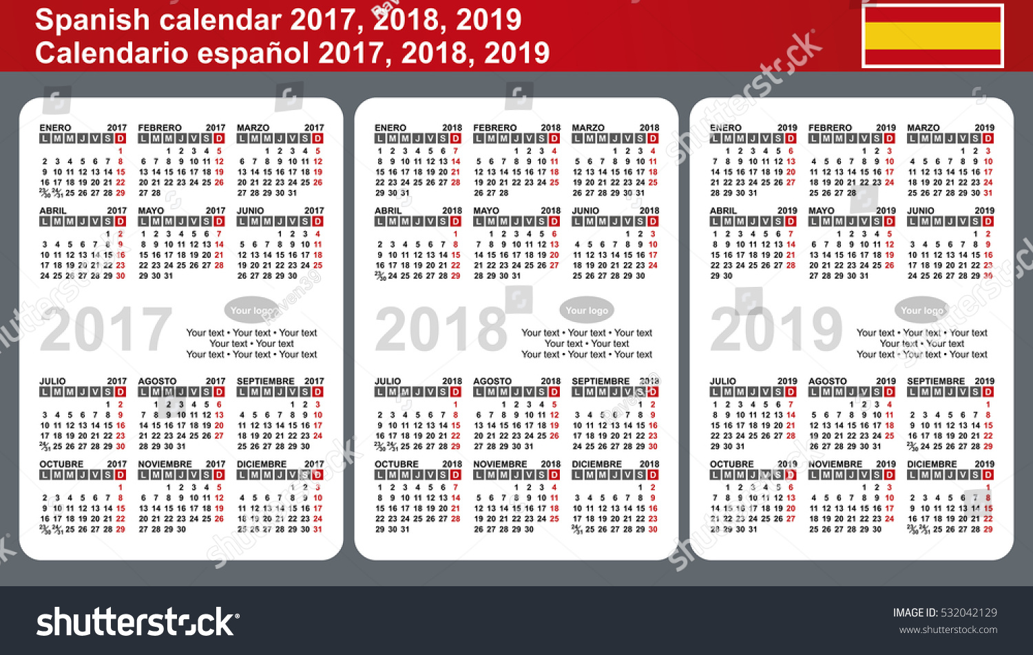 spanish calendar 2017 2018 2019 vector template with place for logo and simple