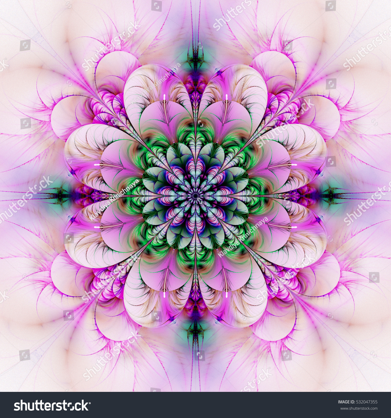 Exotic Flower Pink Green Colors Abstract Stock Illustration