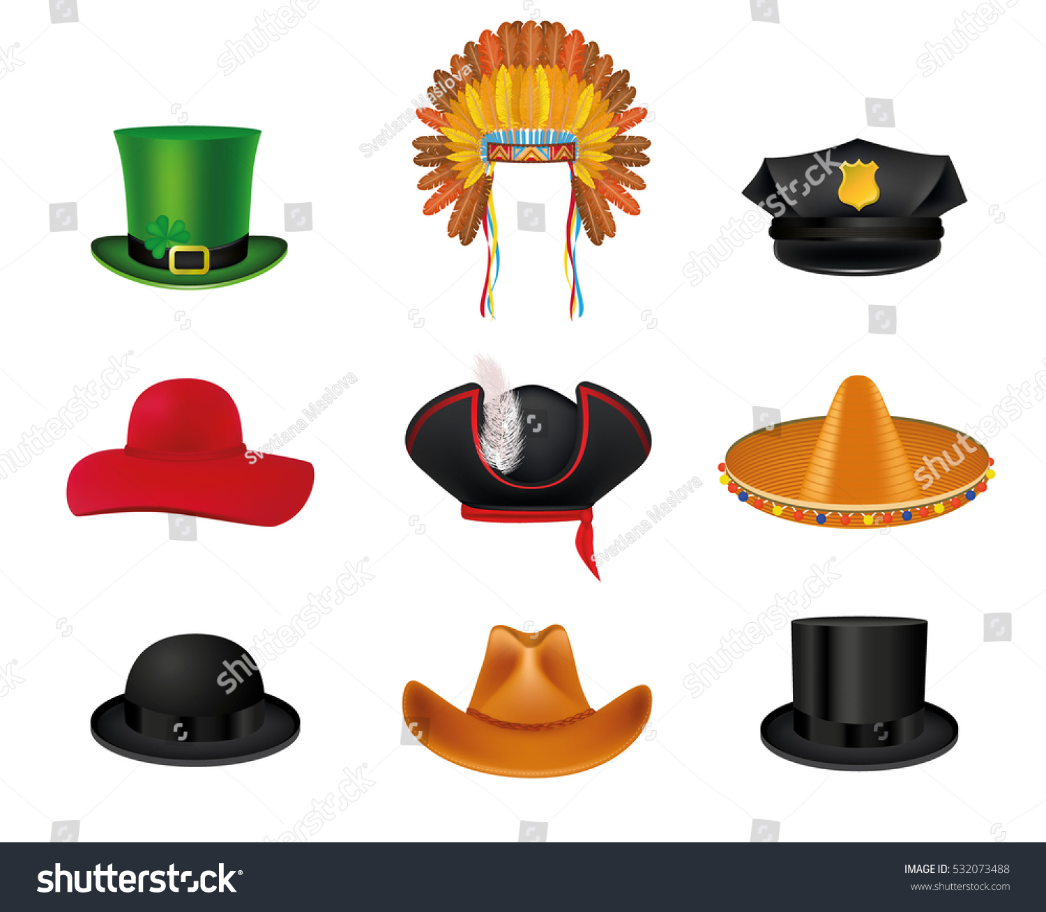 Hat Set Black Cylinder Mexican Sombrero Stock Vector (Royalty Free ... 0355d984d1b