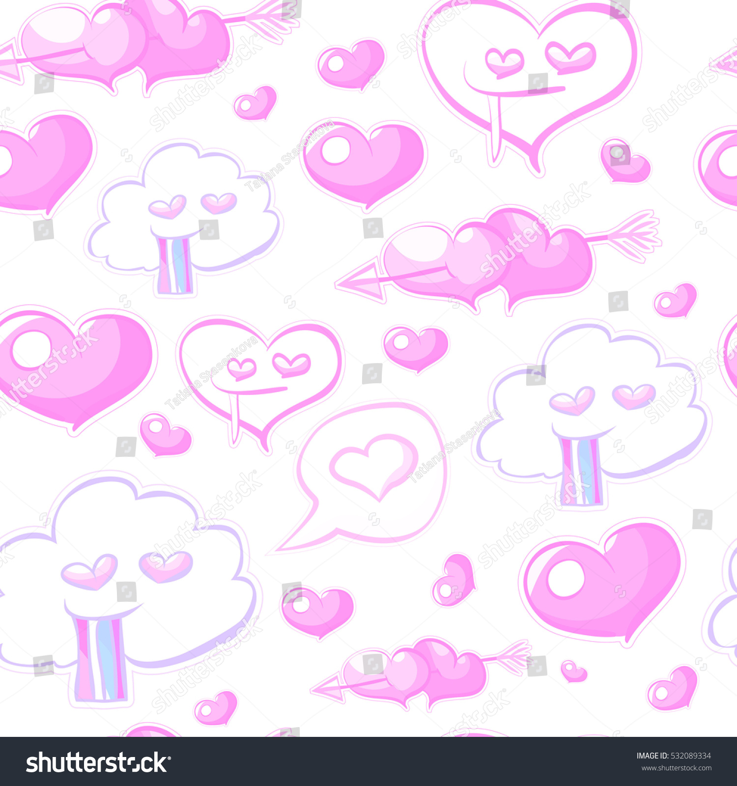 Crazy Doodle Love Seamless Pattern Colorful Stock Illustration