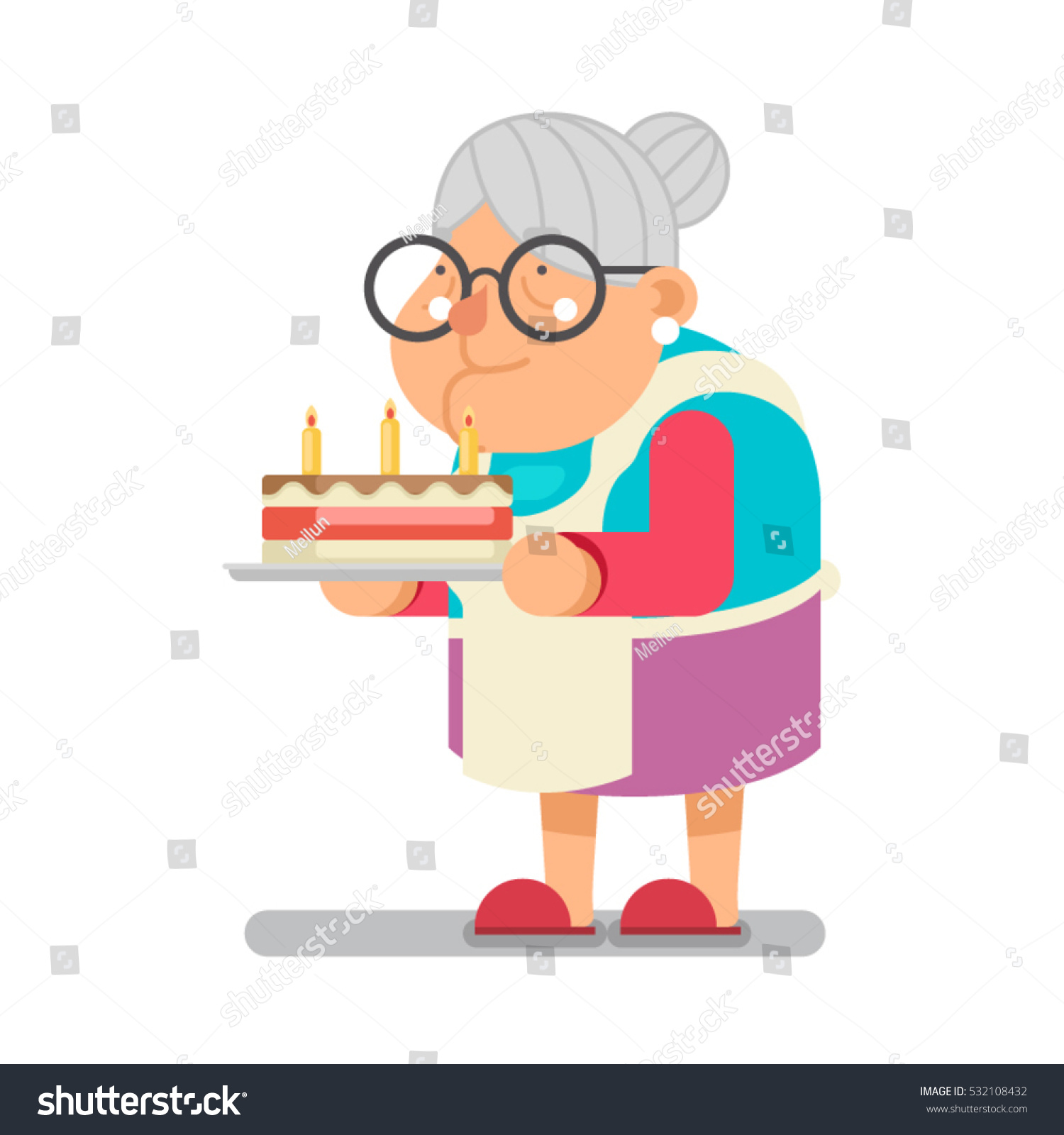 Grandma Knitting Cartoon : Bake complimentary cake household granny old stock vector