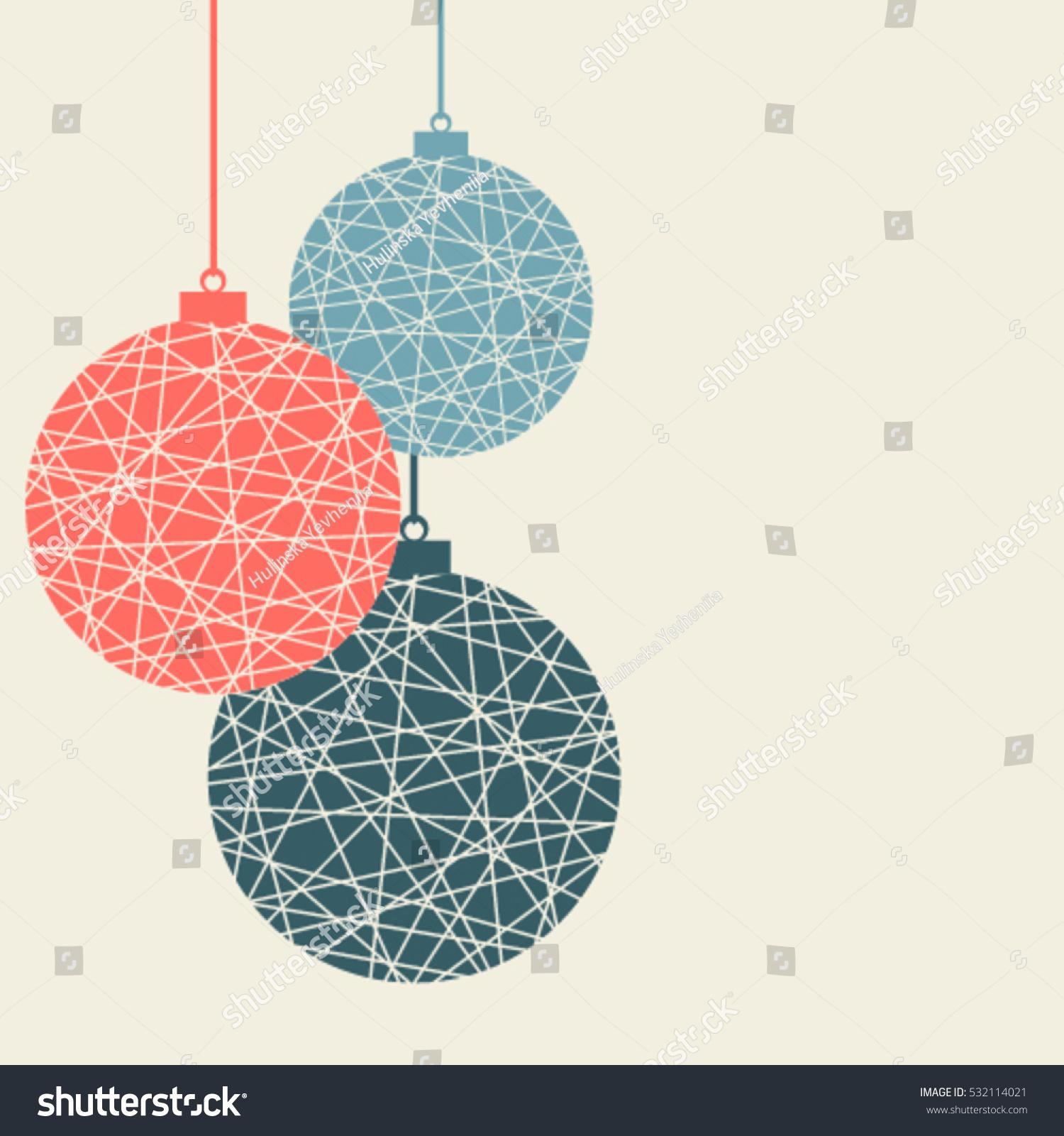 Christmas Background Stylized Christmas Balls Hanging Stock Vector ...