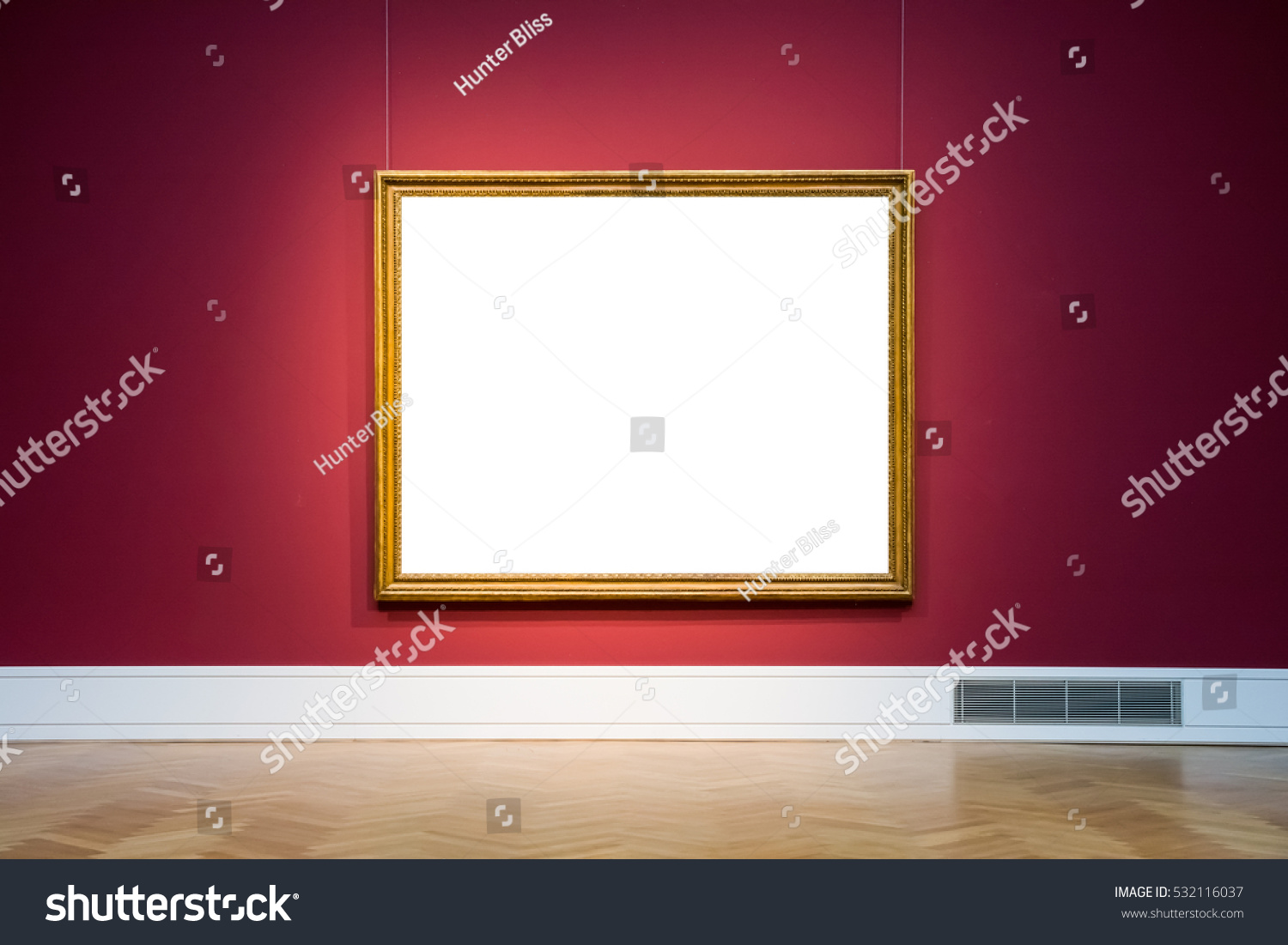 Art Museum Frame Wall Ornate Minimal Design White Isolated Clipping Path Template #532116037