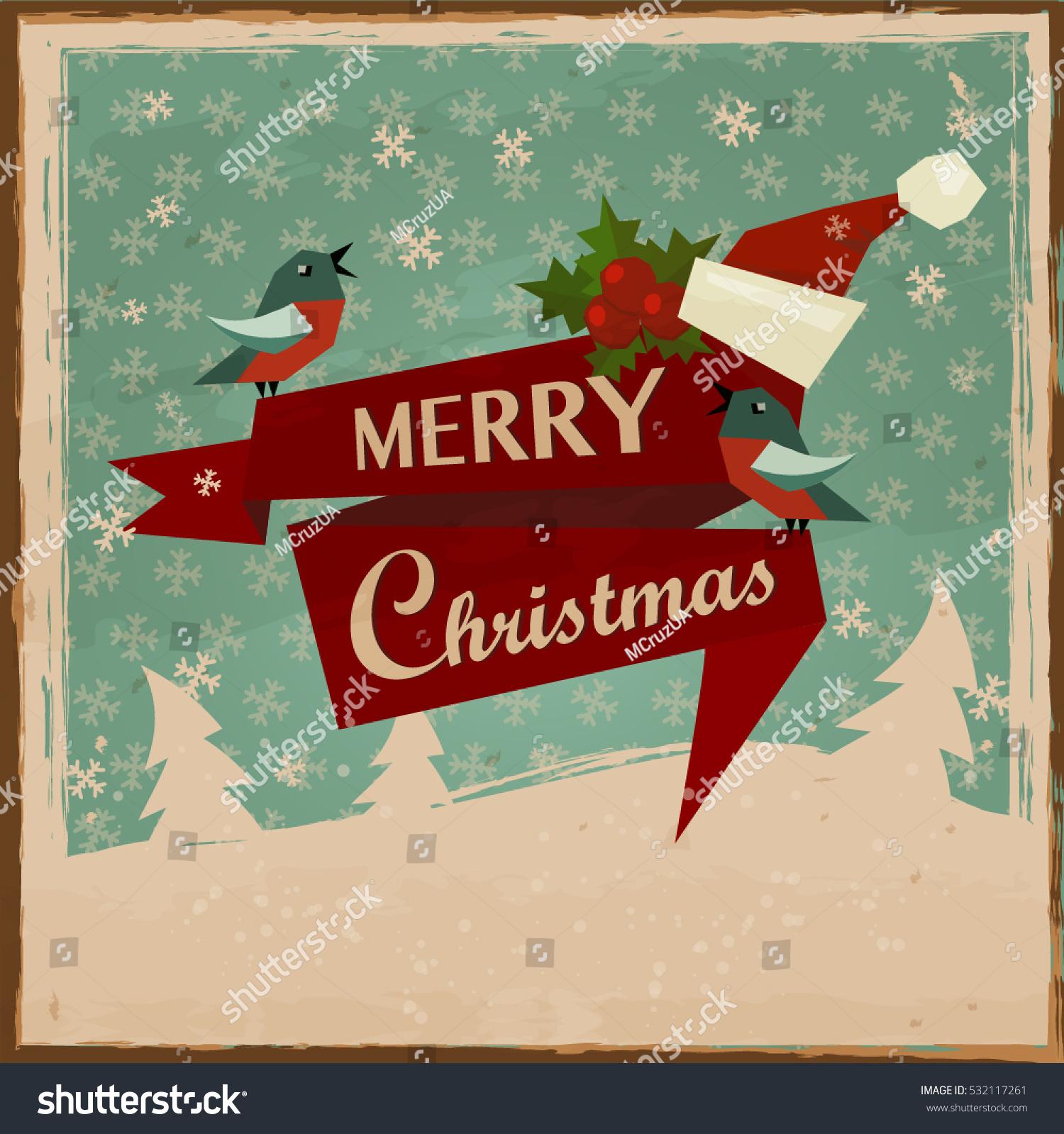 Vintage Merry Christmas Cards Vector Background Santa Stock Vector ...