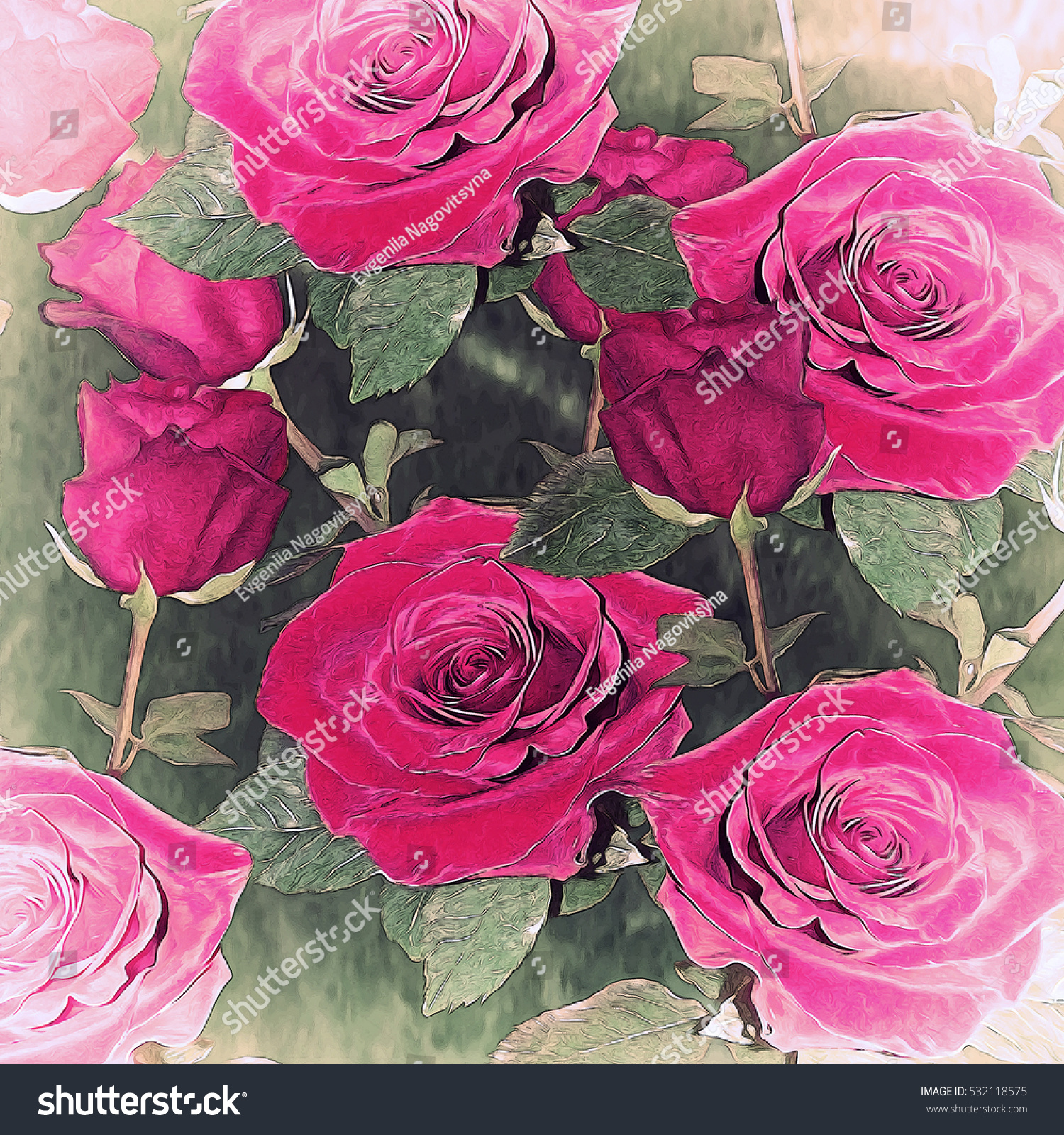 Beautiful Floral Background Pretty Roses Colorful Stock Illustration