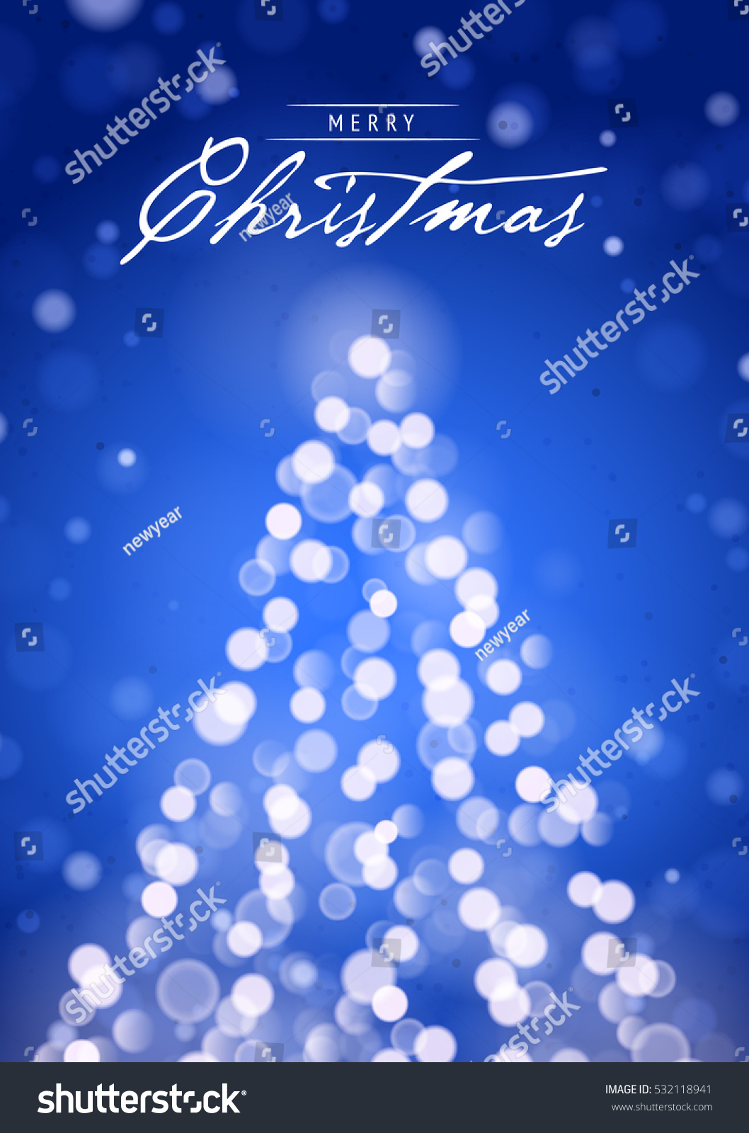 Merry Christmas Greeting Card Blurred Lights Stock Vector Royalty