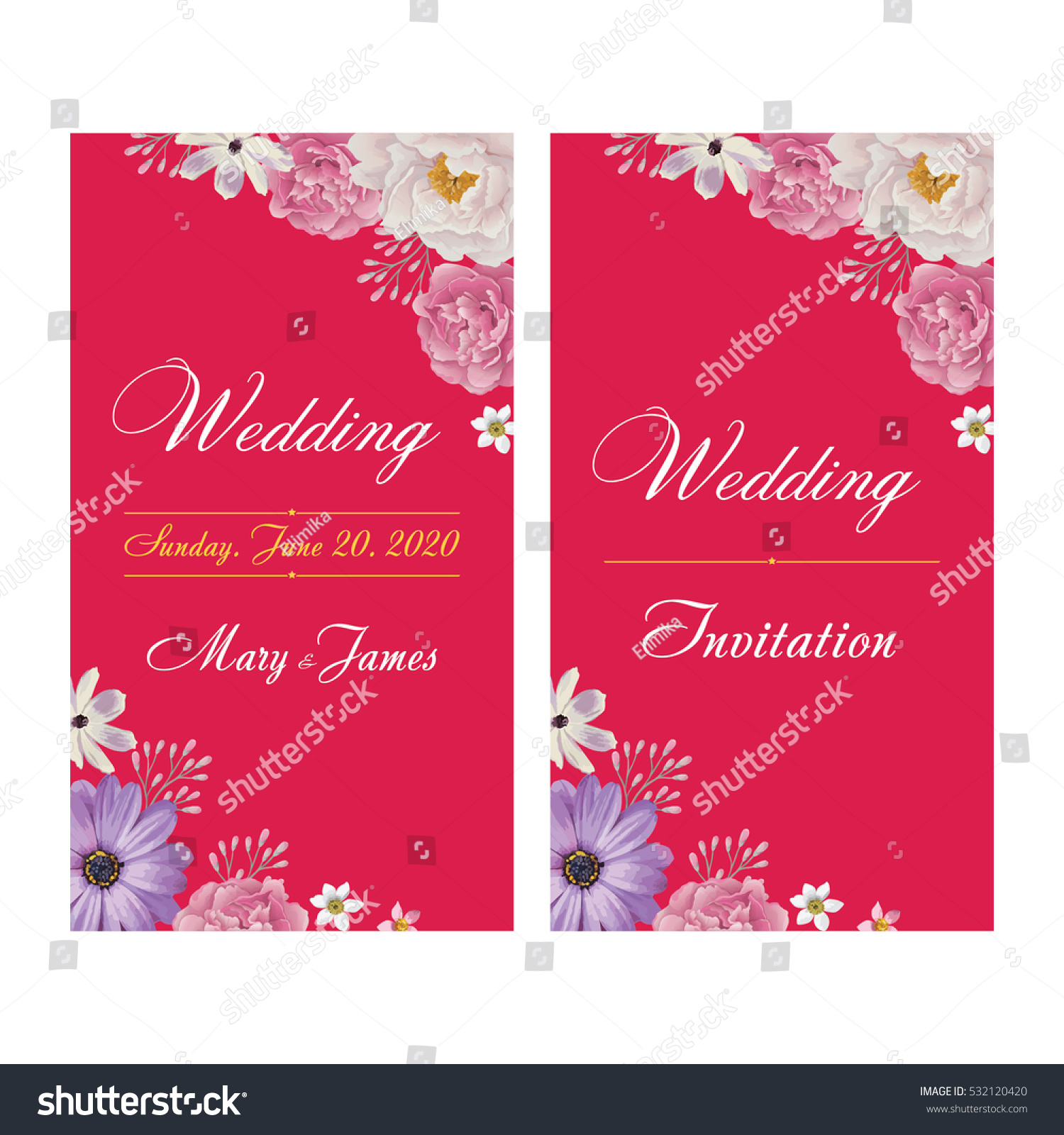 Wedding Invitation Thank You Card Save Stock Vector 532120420 ...