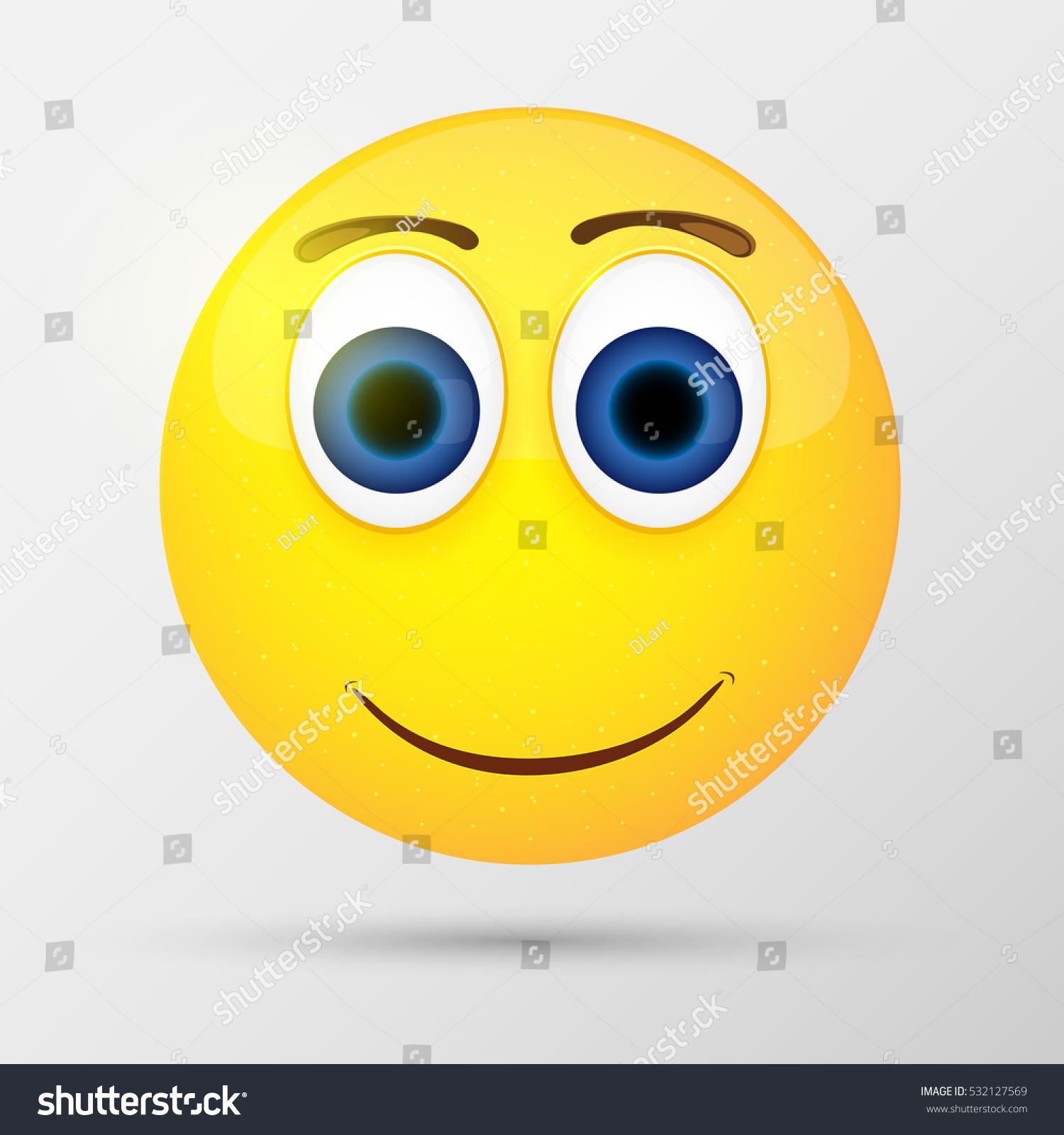 Cute Smiling Emoticon Emoji Smiley Vector Stock Vector