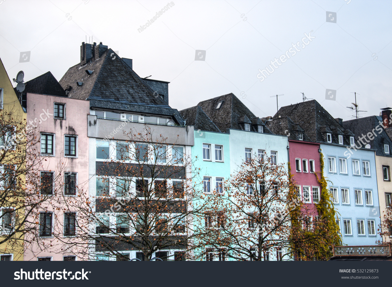 typical facades houses cologne germany stock photo 532129873 shutterstock. Black Bedroom Furniture Sets. Home Design Ideas