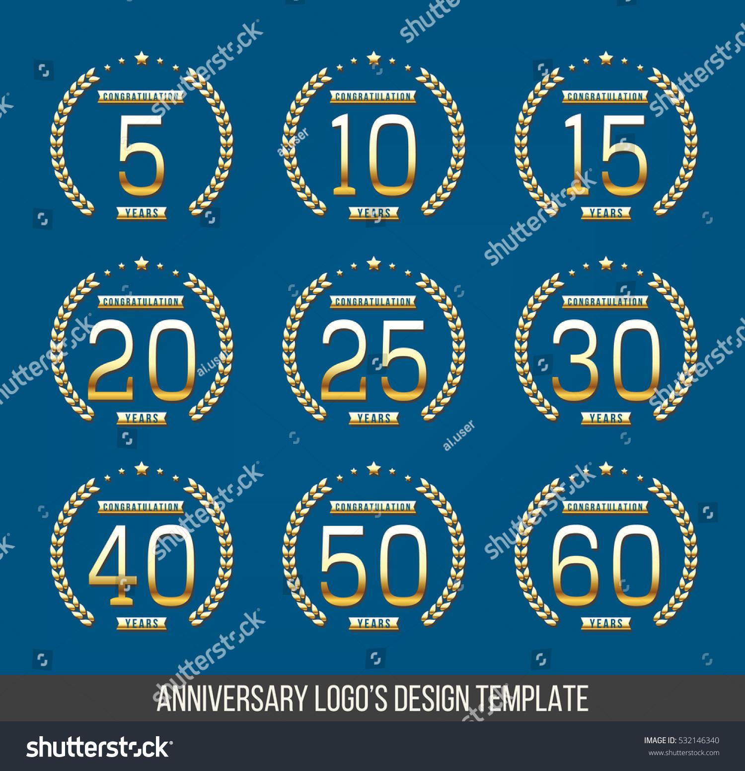 Vector Set Anniversary Symbols 5th 10th Stock Vector 532146340