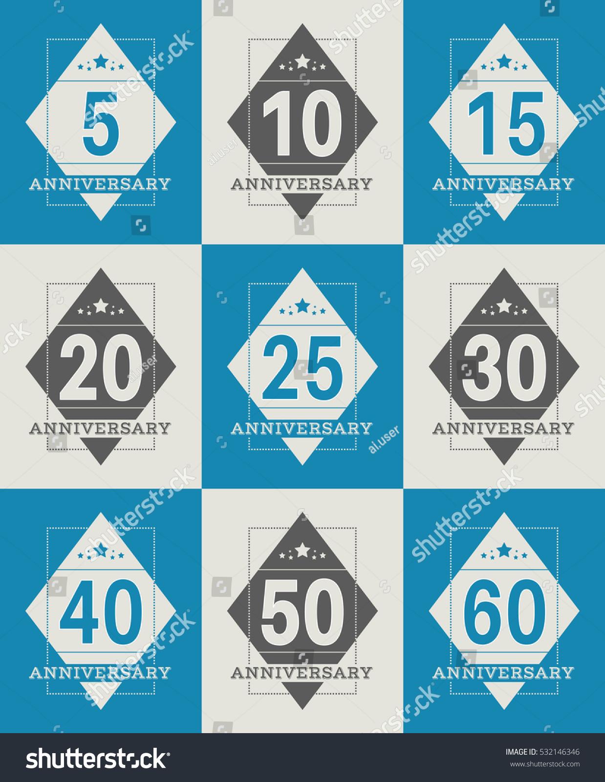 Vector Set Anniversary Symbols 5th 10th Stock Vector 532146346