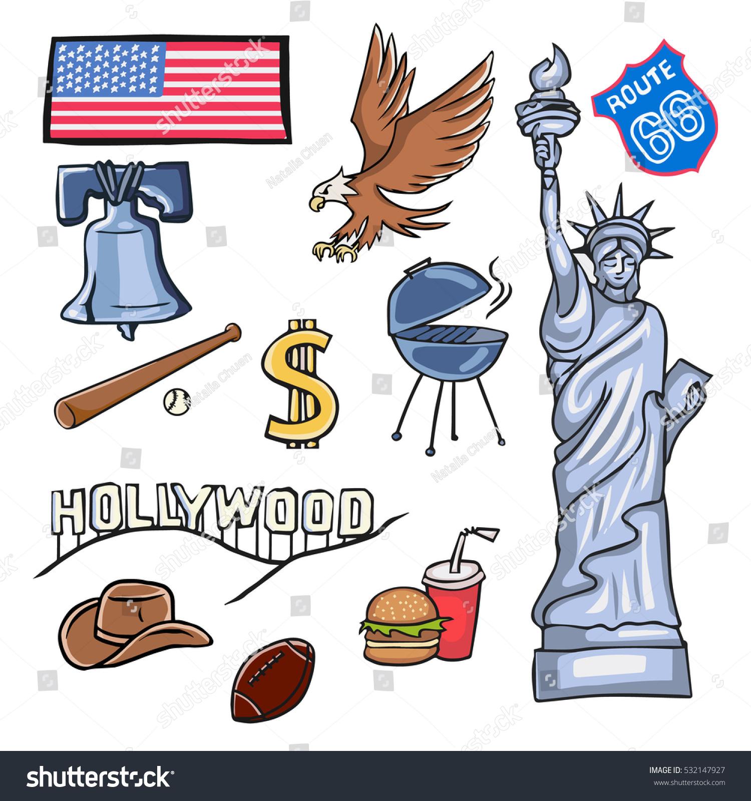 Cartoon Symbols Usa Stock Vector Royalty Free 532147927 Shutterstock