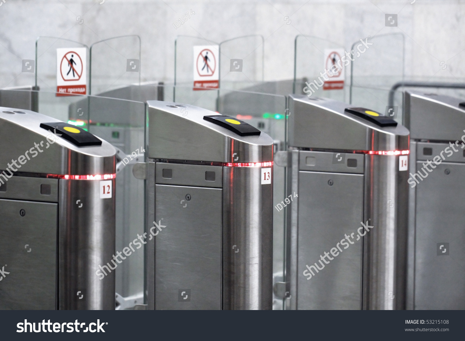 Metal turnstiles with glass doors at an input in the underground & Metal Turnstiles Glass Doors Input Underground Stock Photo ... pezcame.com