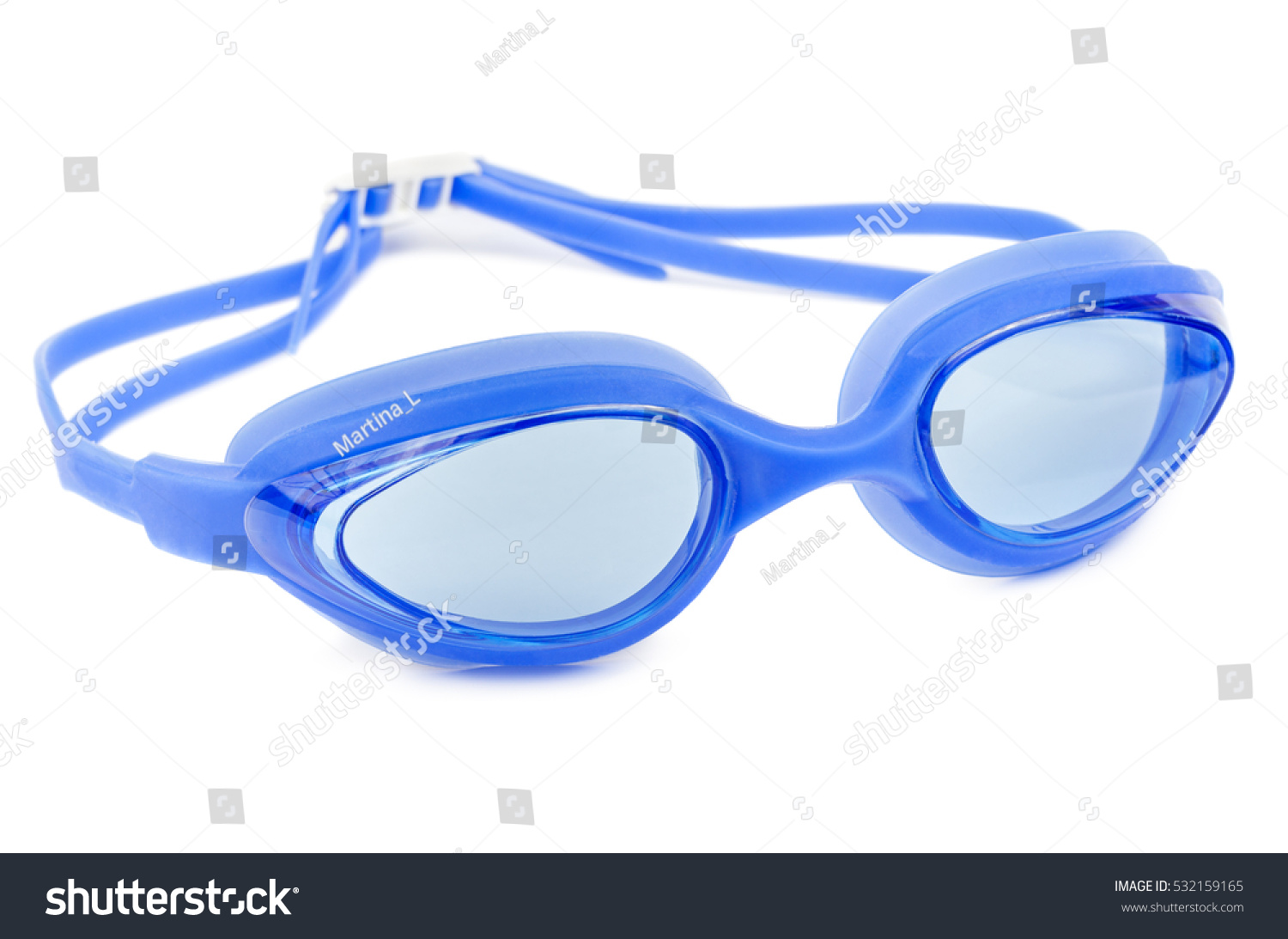 Professional glasses for swimming isolated on a white background. Blue swim goggle. #532159165