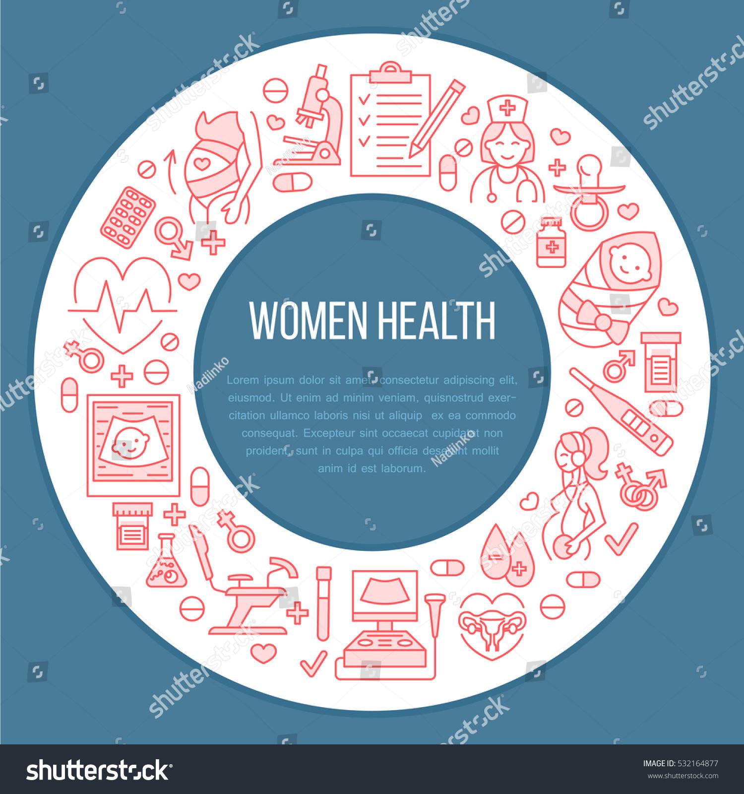 Medical poster template vector line illustration stock vector medical poster template vector line illustration of pregnancy planning and obstetrics gynecology elements toneelgroepblik Images