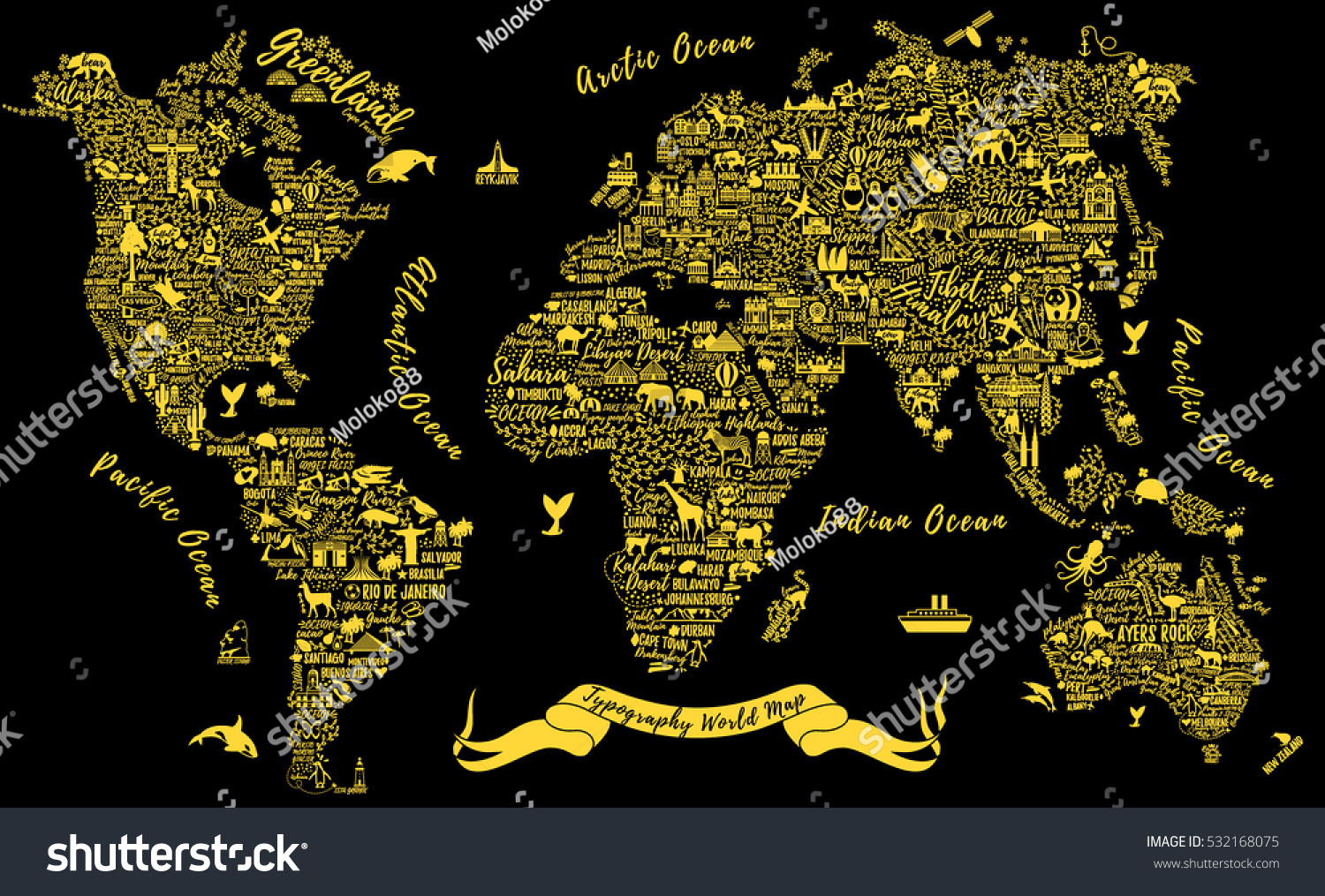 Typography world map travel poster cities vectores en stock typography world map travel poster with cities and sightseeing attractions inspirational vector illustration gumiabroncs Image collections