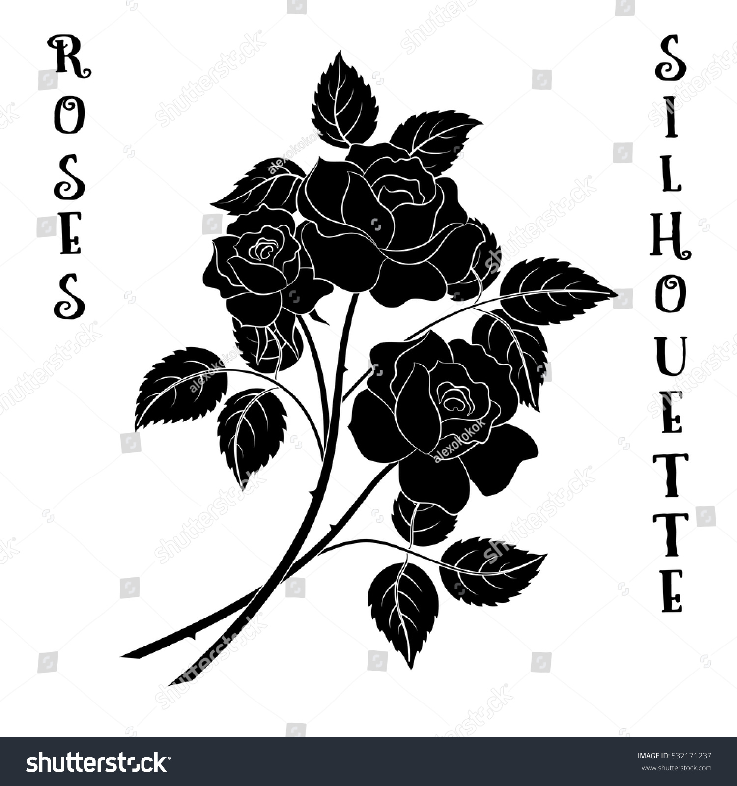 Roses Bouquet Three Black Flowers Silhouette Stock Vector Royalty