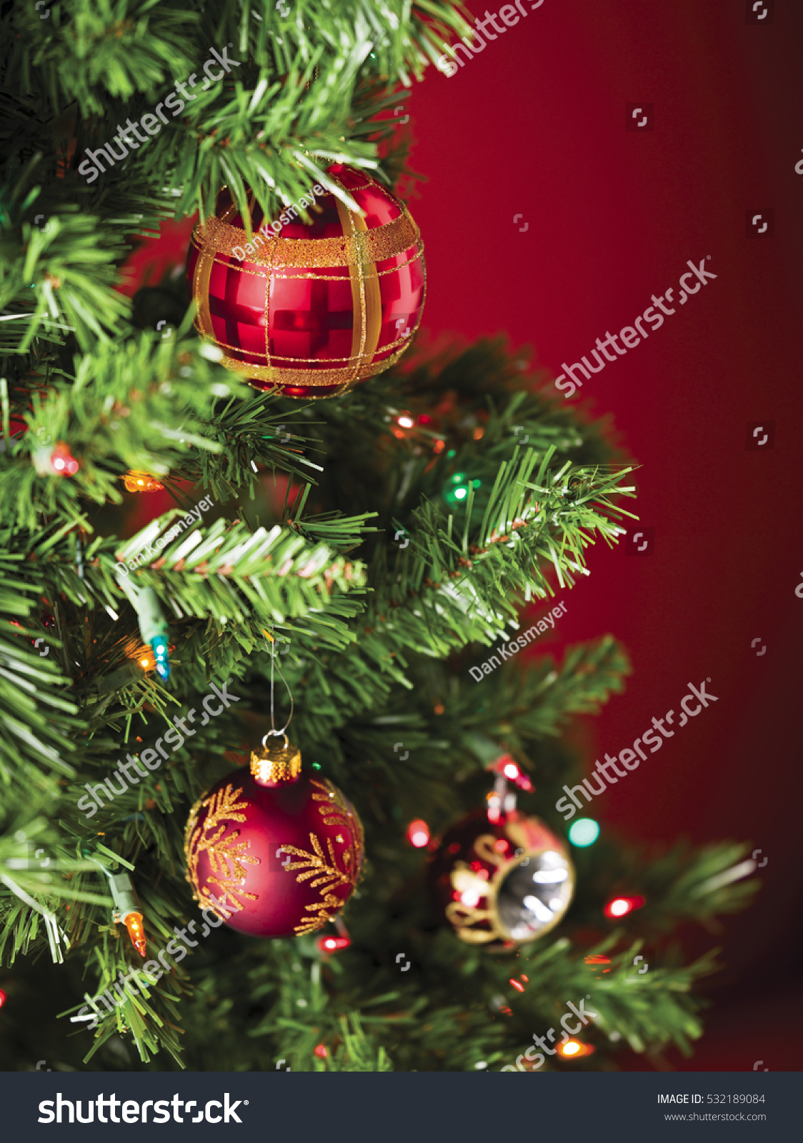 Christmas Tree Multi Colored Lights Red Stock Photo (Royalty Free ...