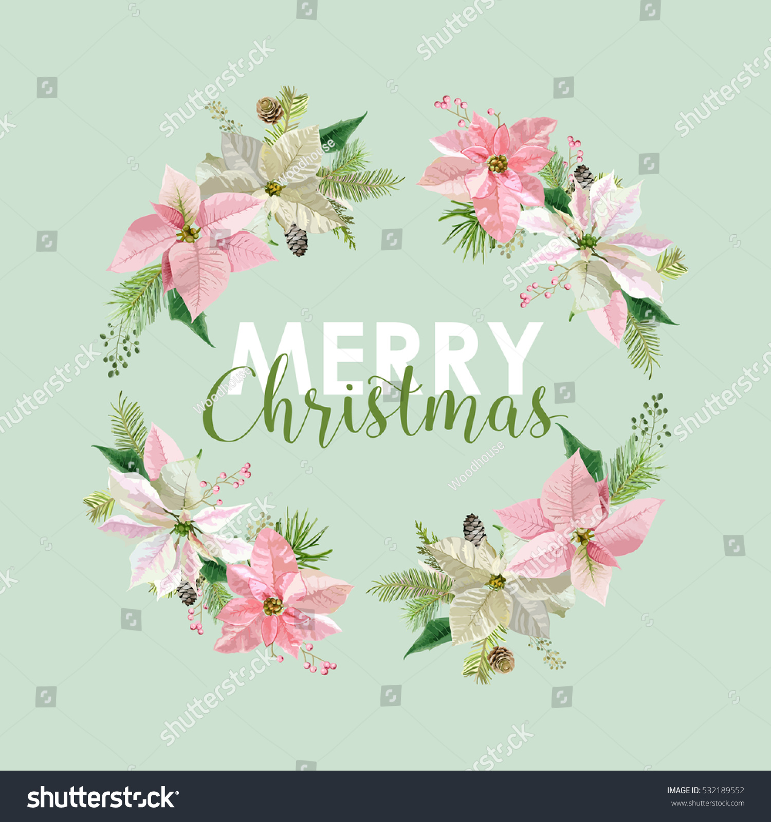New year christmas card vintage flowers stock vector 532189552 new year and christmas card vintage flowers poinsettia pink background in vector kristyandbryce Image collections