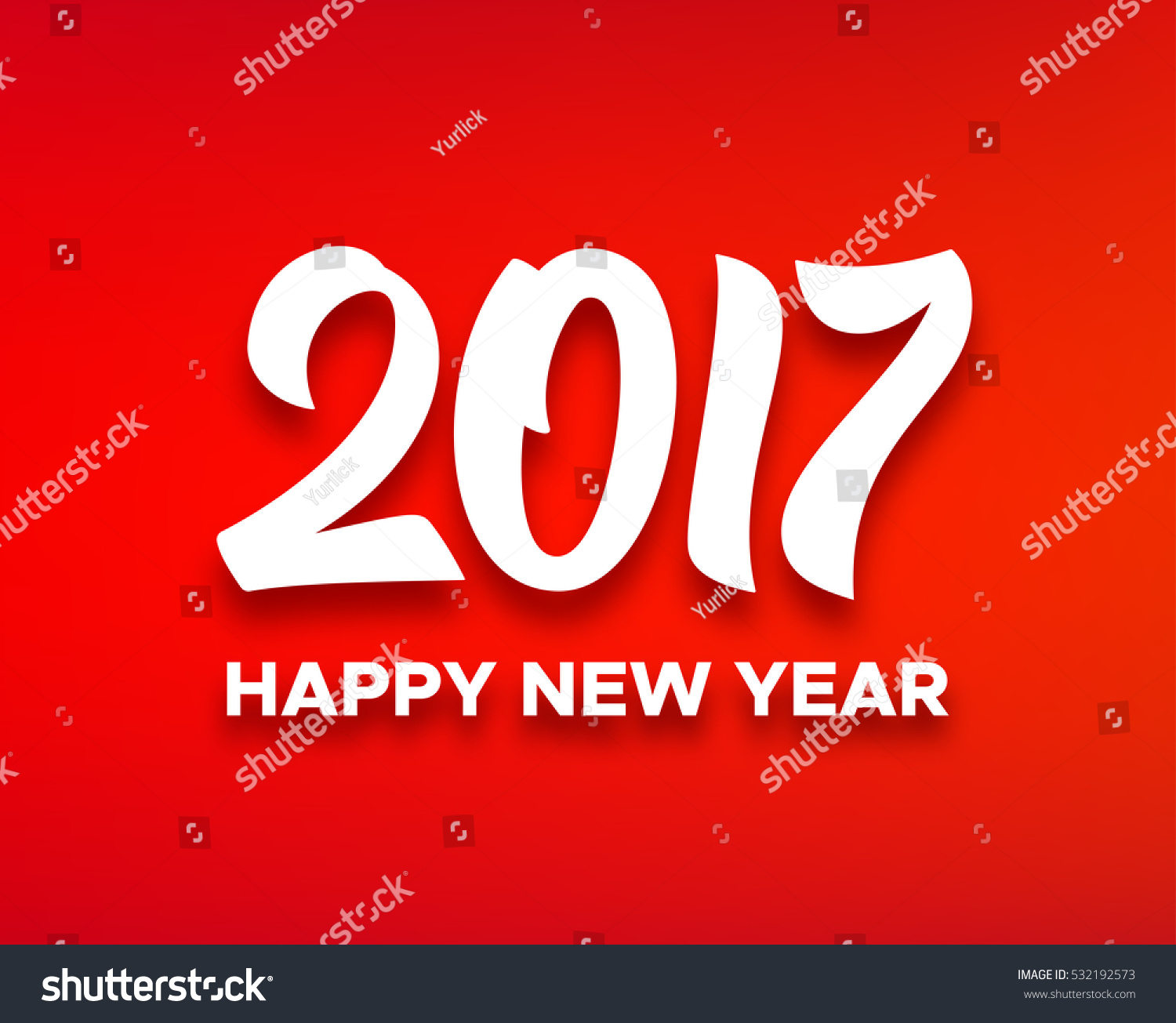 Happy New Year 2017 Greeting Card Design With White Paper Text On