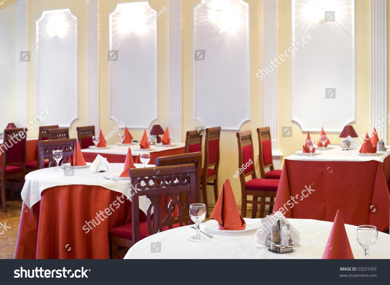 restaurant interior red white colours stock photo 53221093