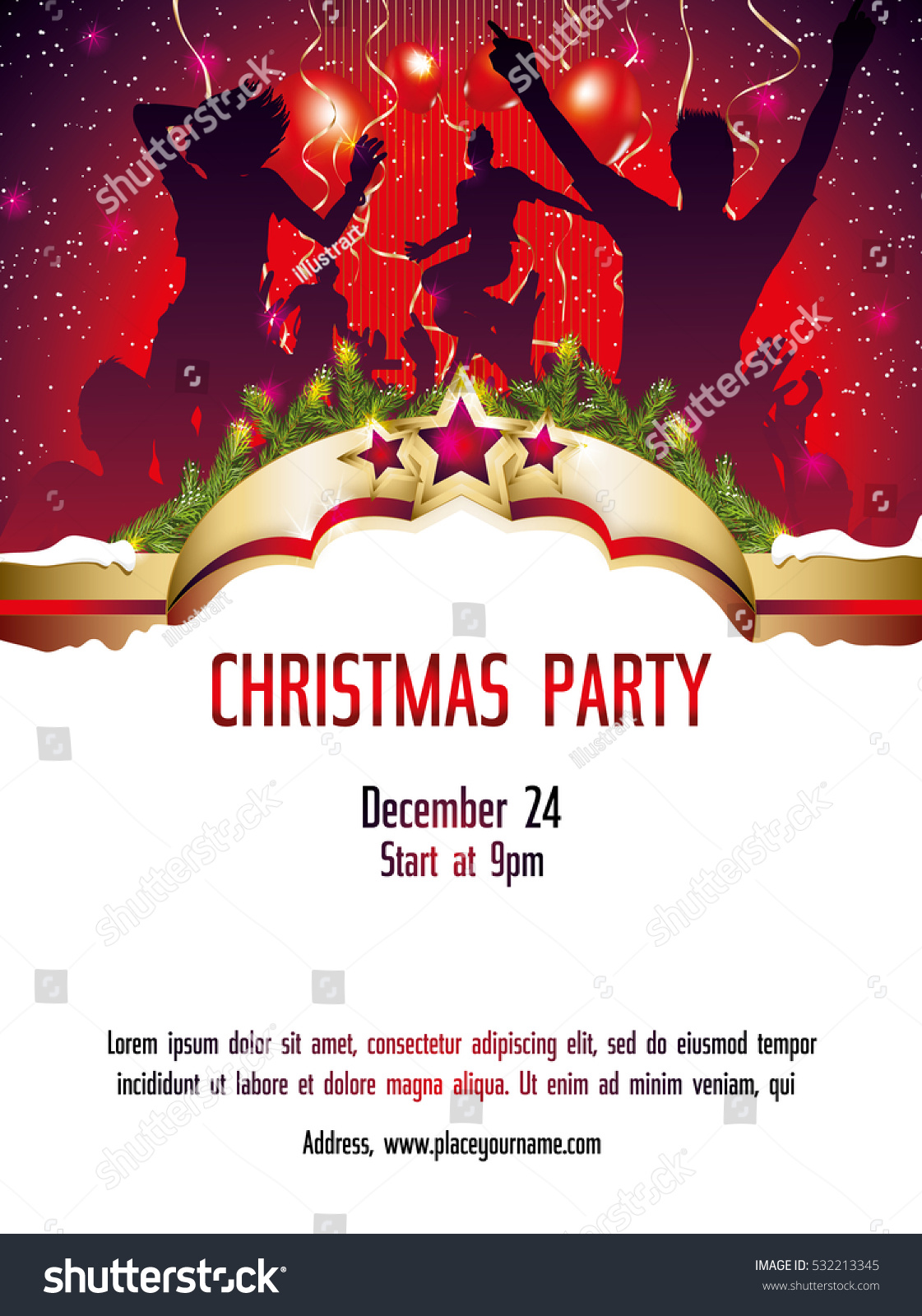 Christmas Party Invitation Template Stock Vector 532213345 ...