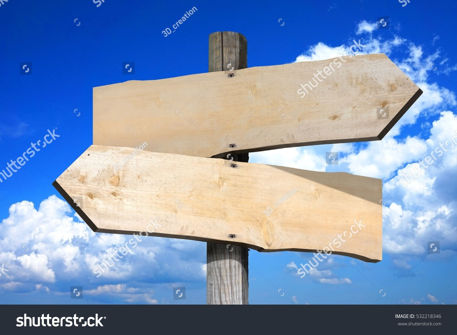 Empty wooden signpost with two arrows