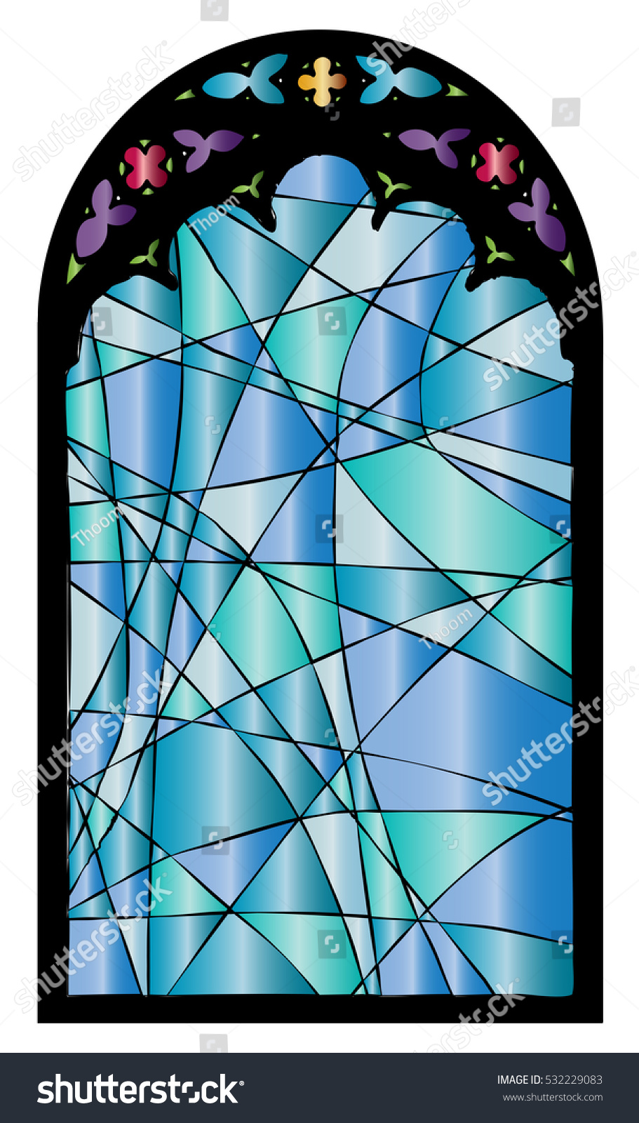 Church stained glass gothic window vector stock vector for Window design vector