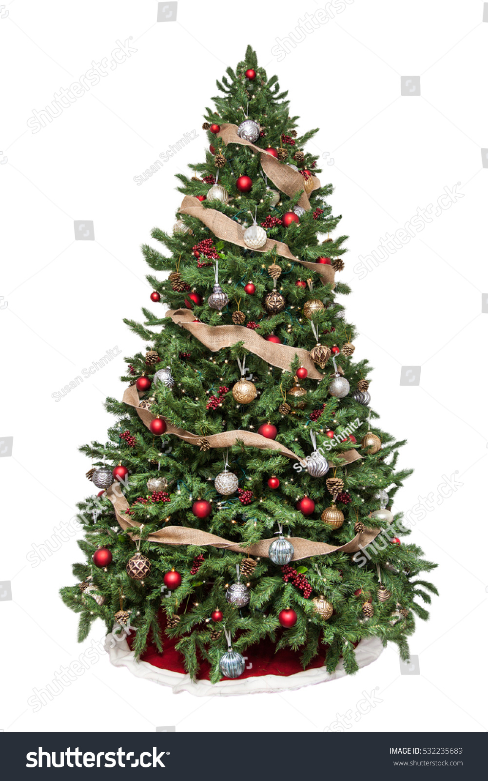 Isolated Christmas Tree Decorated Ornaments Burlap Stock Photo Edit Now 532235689