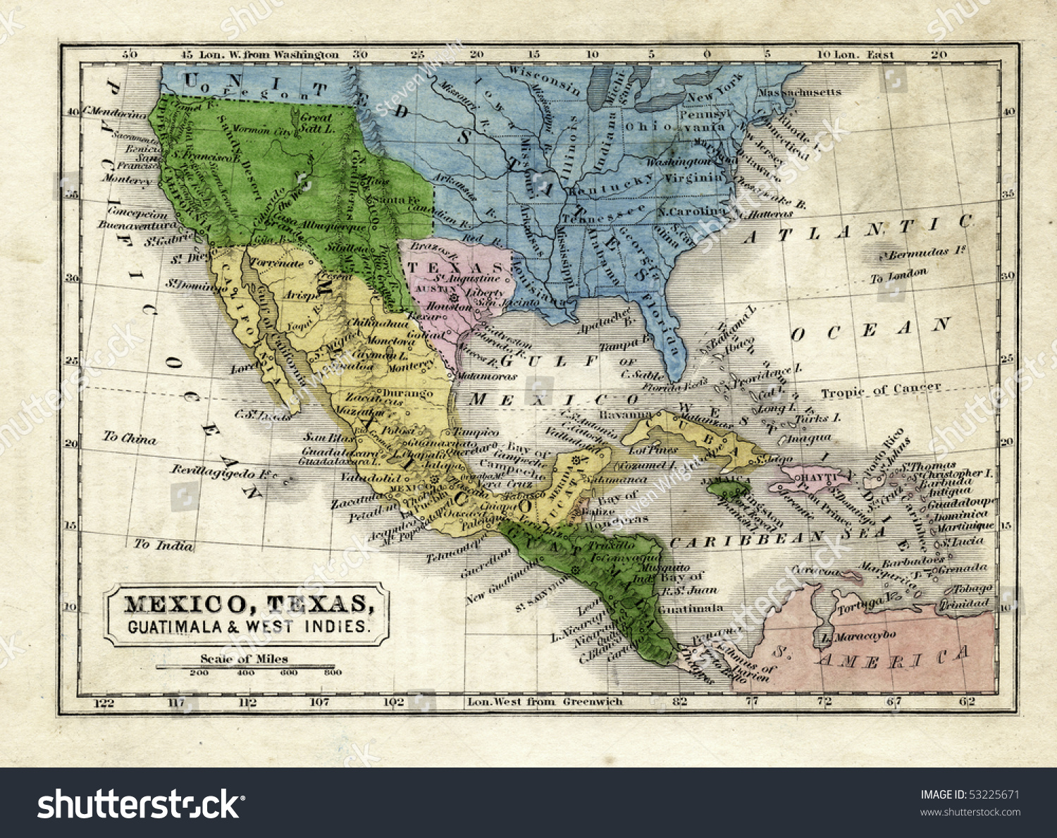 Map Texas Republic United States Stock Illustration - Central united states map