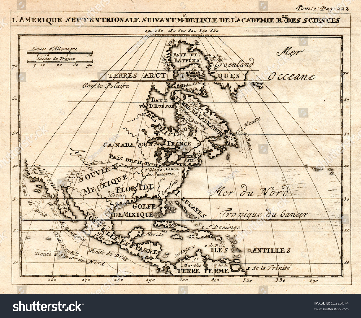 Early 1712 Antique Map North America Illustration 53225674 – Map Showing Canada