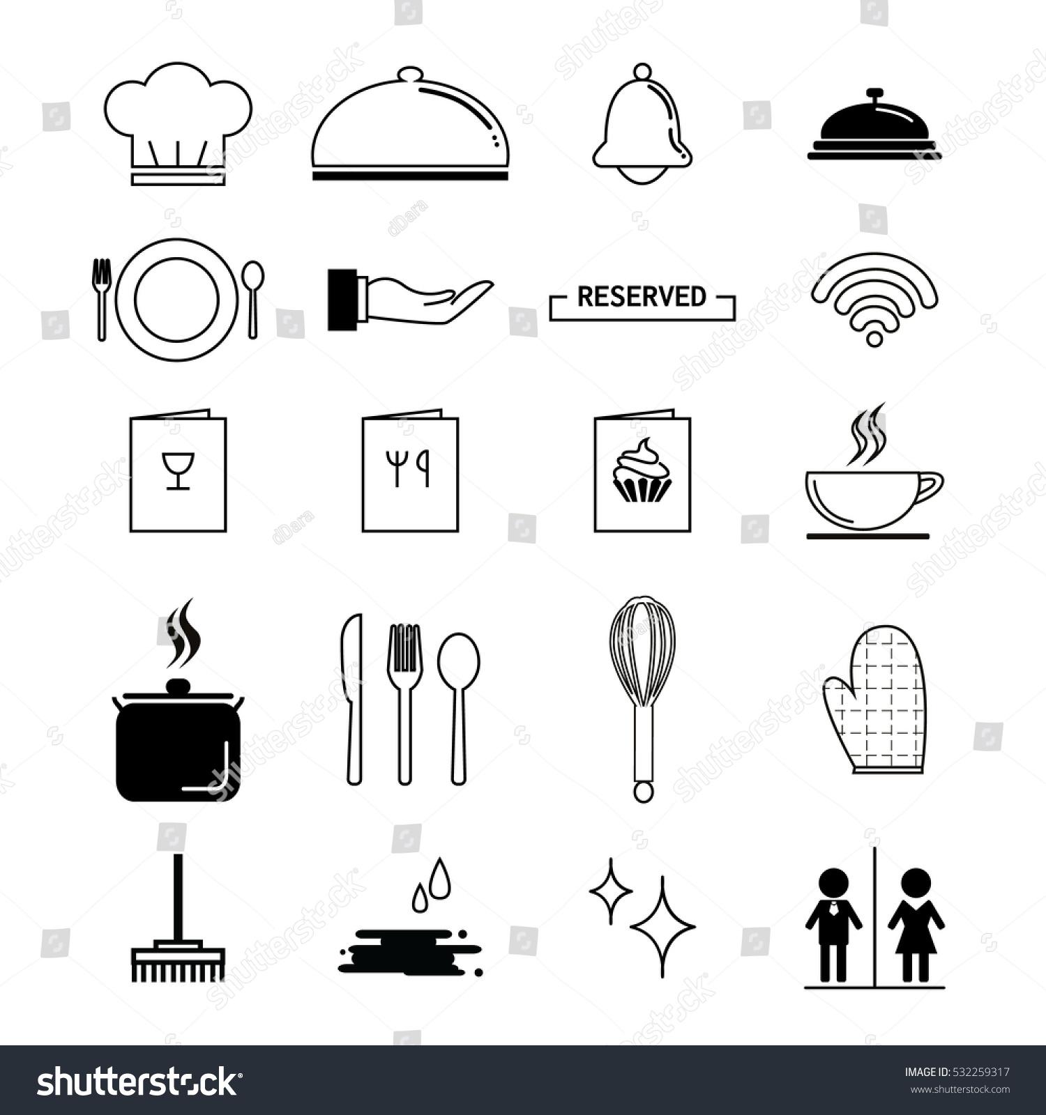 Kitchen icons set for restaurant stock vector illustration for Kitchen set vector