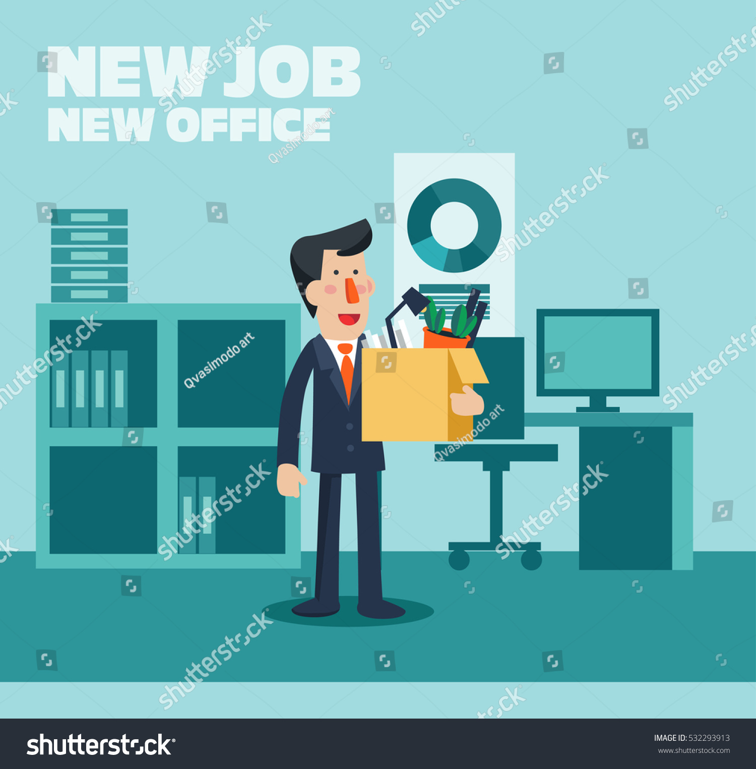 welcome new job vector business concept stock vector  welcome to the new job vector business concept successful smiling young man in the office
