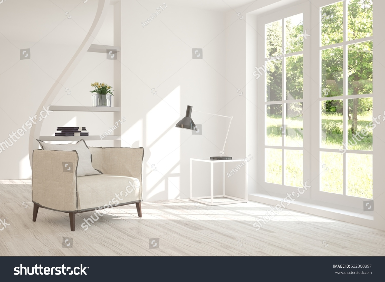 White Room Armchair Urban Landscape Window Stock