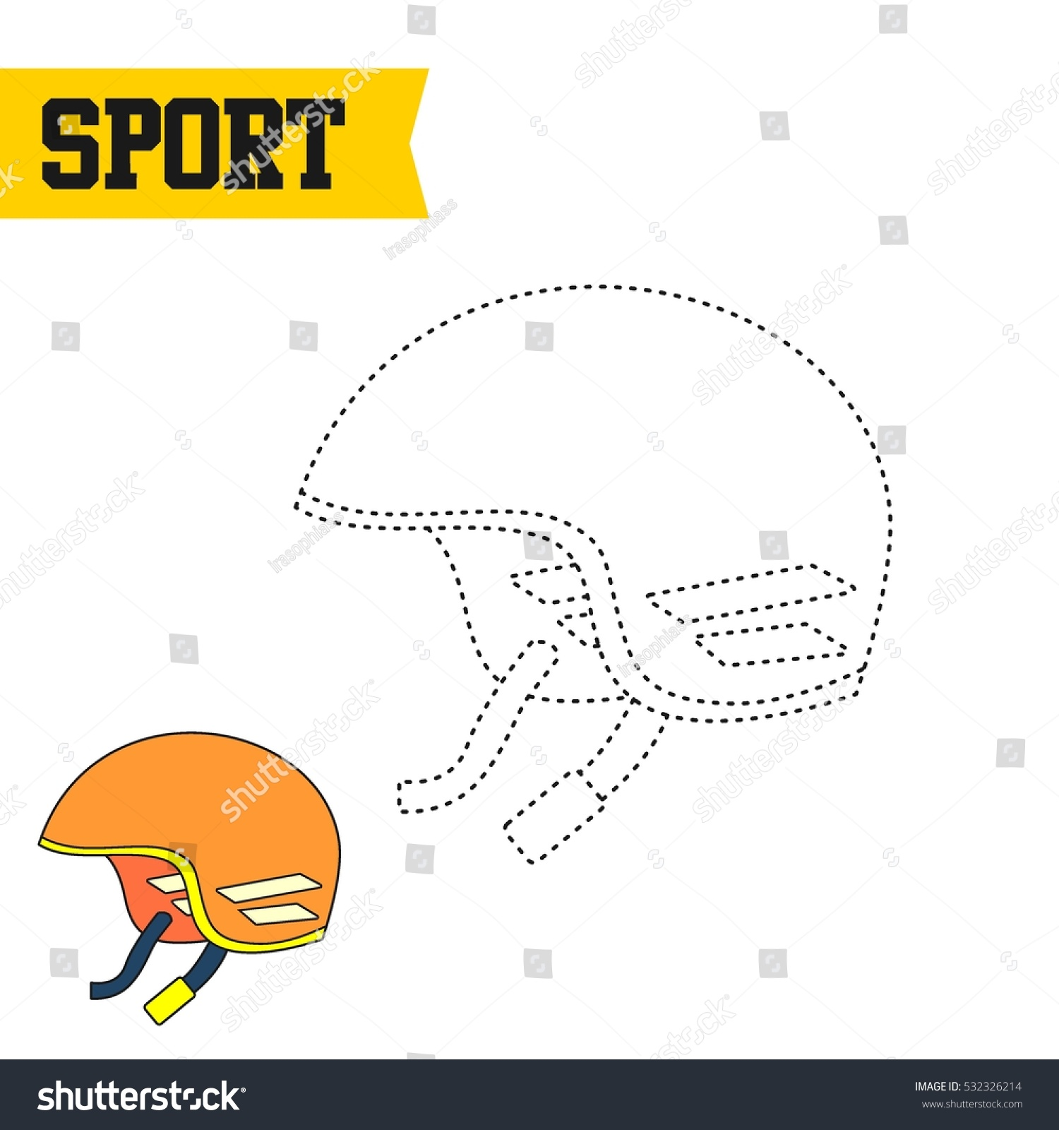 Sport Theme Drawing Kids Connecting Dottodot Stock Vector Royalty
