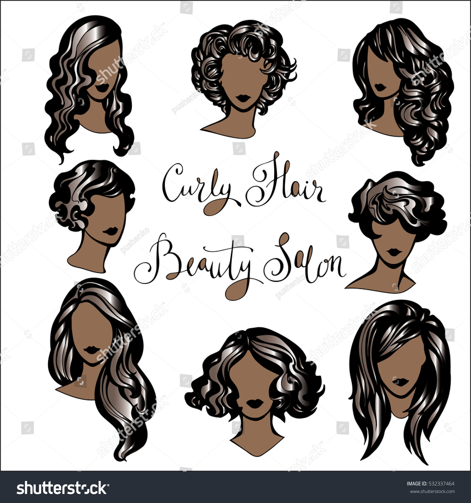 Vector Set Stylized Logo Hairstyles Black Stock Vector Royalty Free