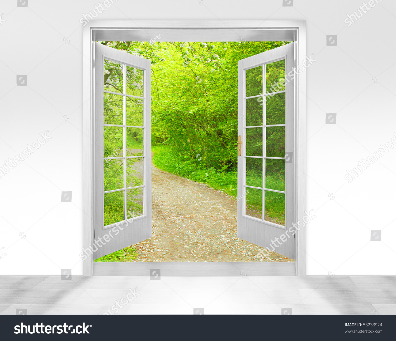 Opened door to early morning in green garden - conceptual image - environmental business metaphor. & Opened Door Early Morning Green Garden Stock Photo 53233924 ... Pezcame.Com