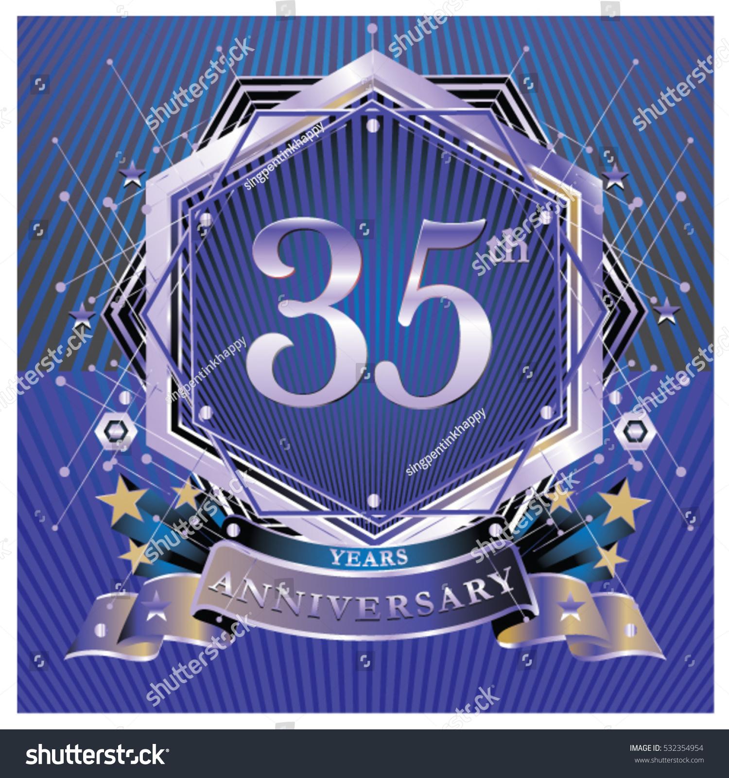 35 Years Anniversary Logo Celebration Ring Stock Vector 532354954