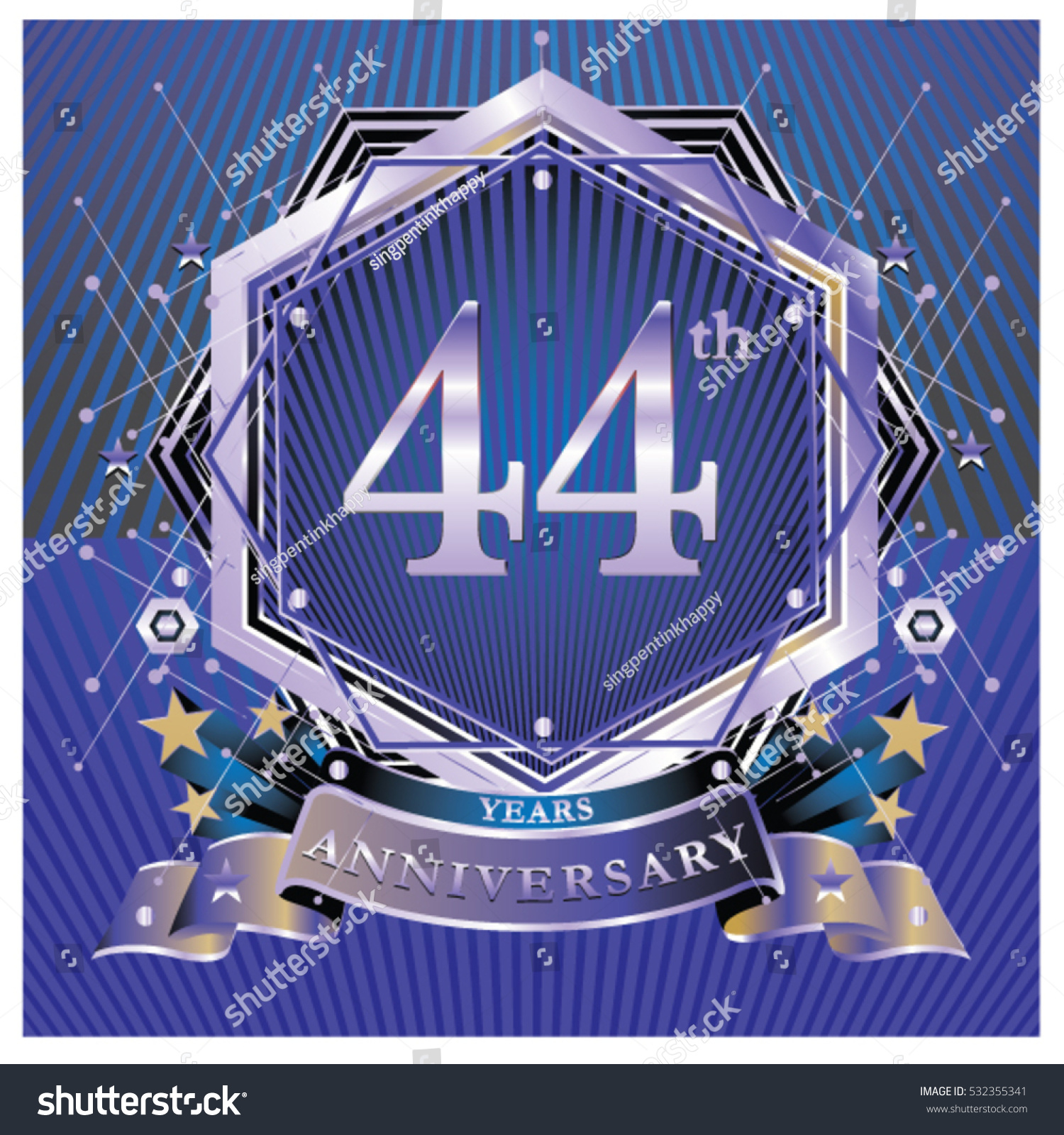44 years anniversary logo celebration ring stock vector 532355341 44 years anniversary logo celebration with ring and ribbon symbol and template for greeting card biocorpaavc Gallery