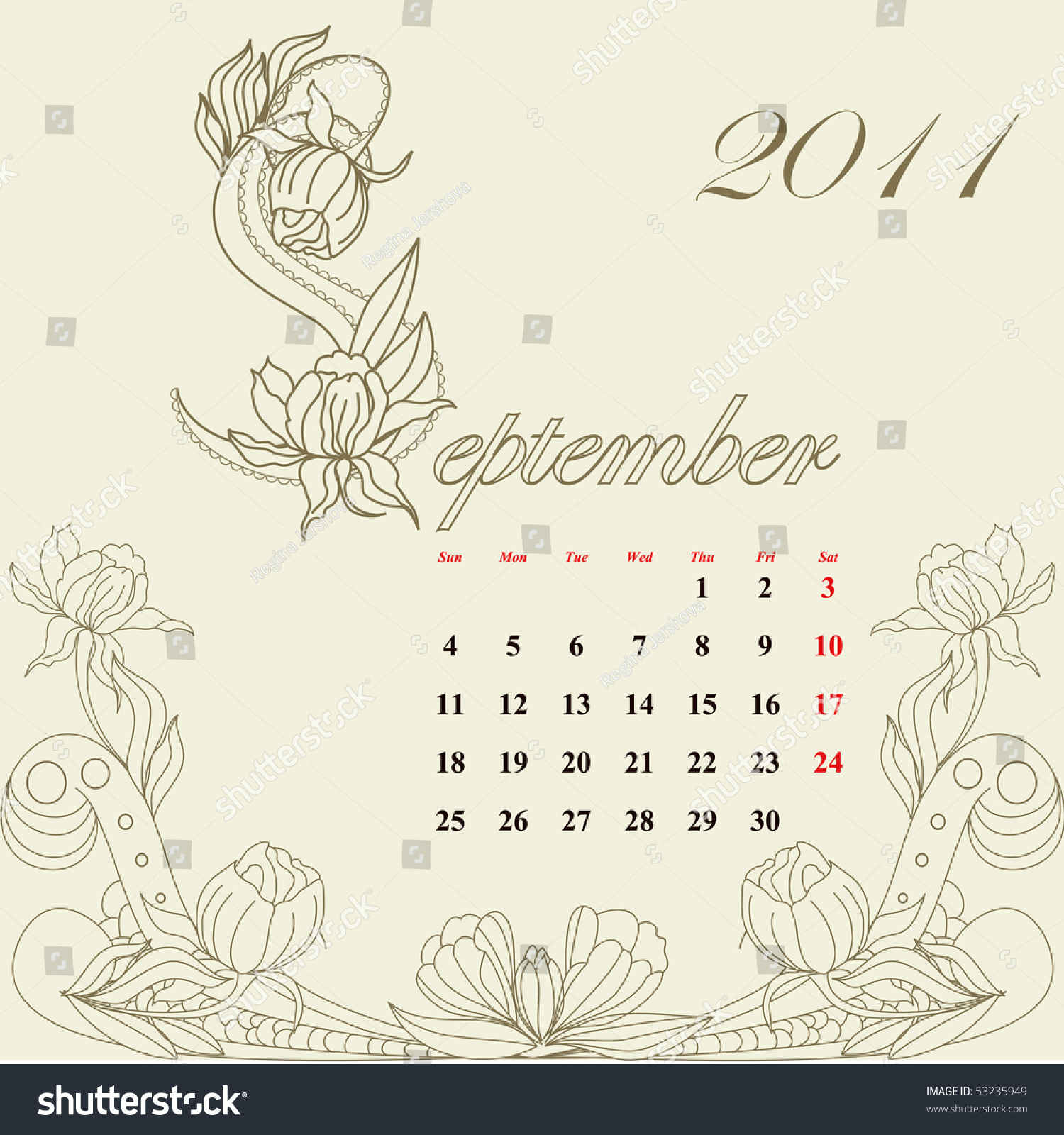 Calendar Vintage Vector : Vintage calendar for september stock vector